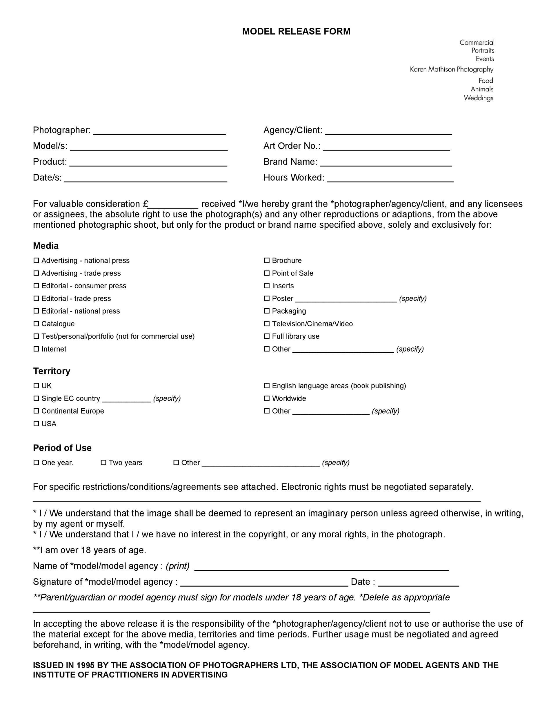 Free model release form 37