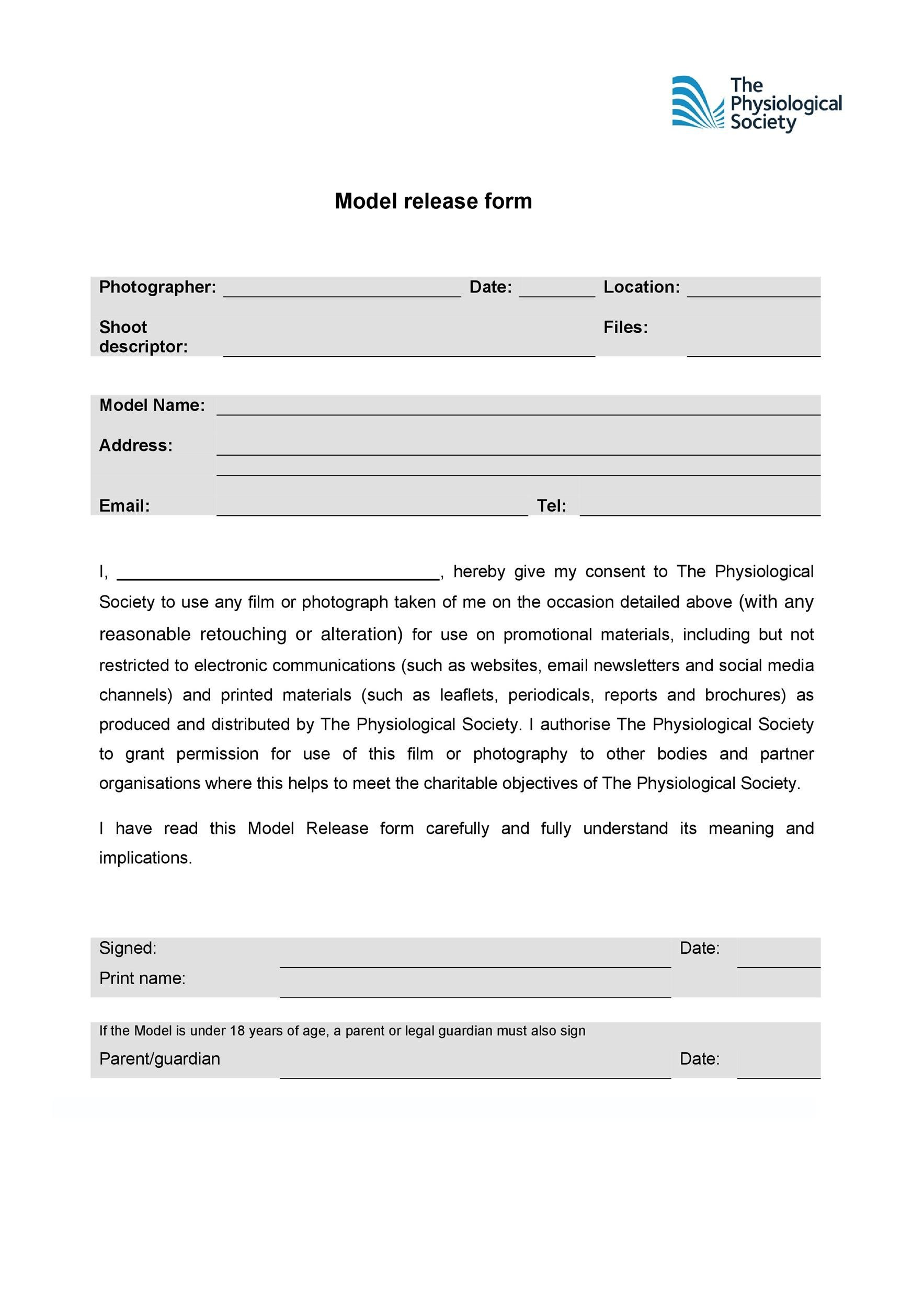 Free model release form 40
