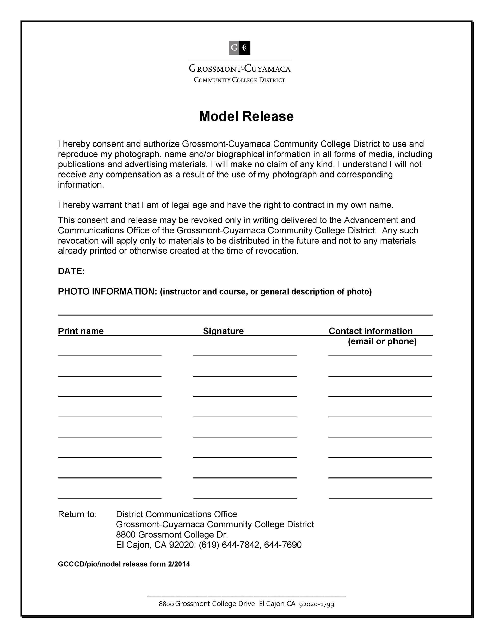 Free model release form 43
