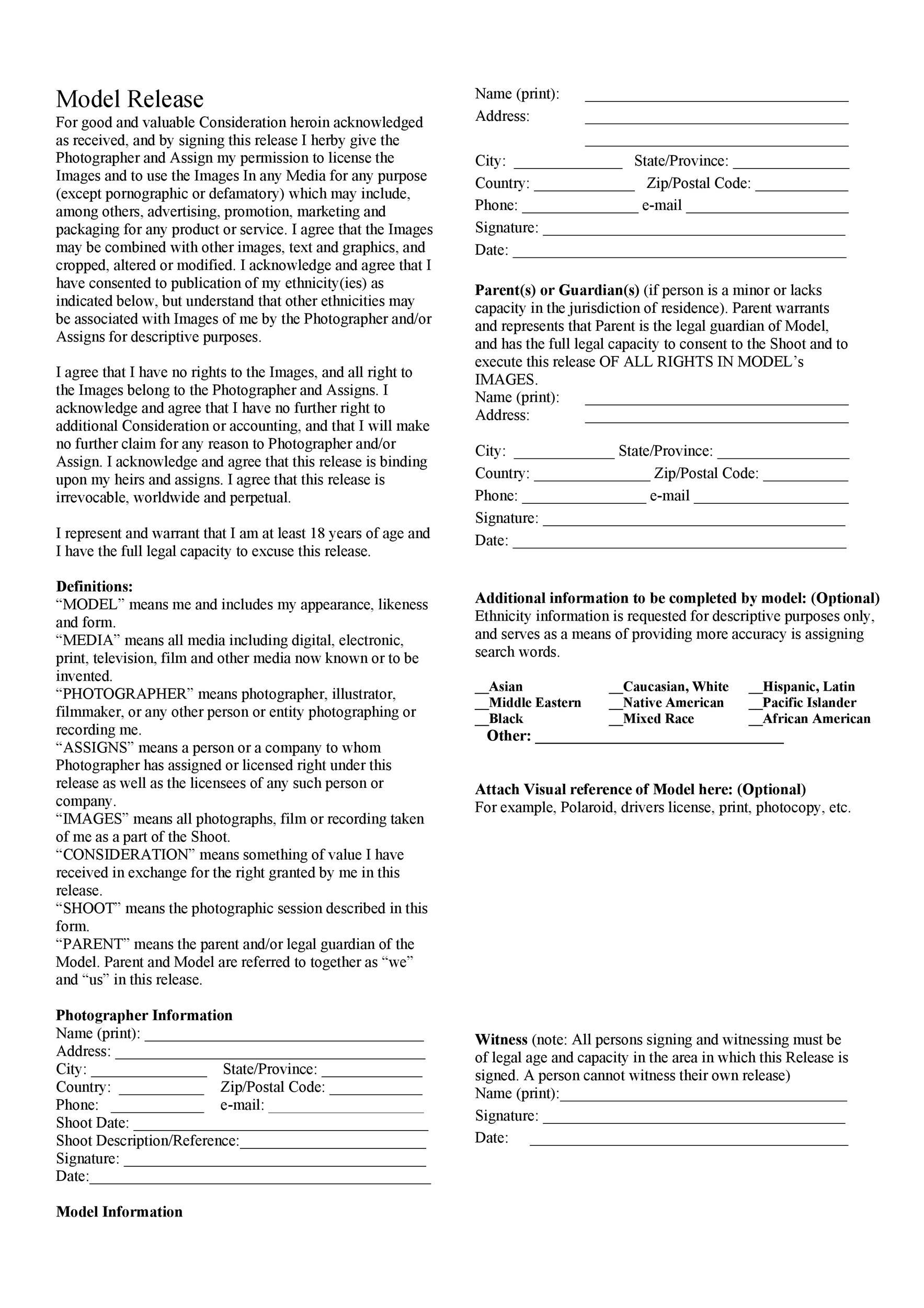 Free model release form 47