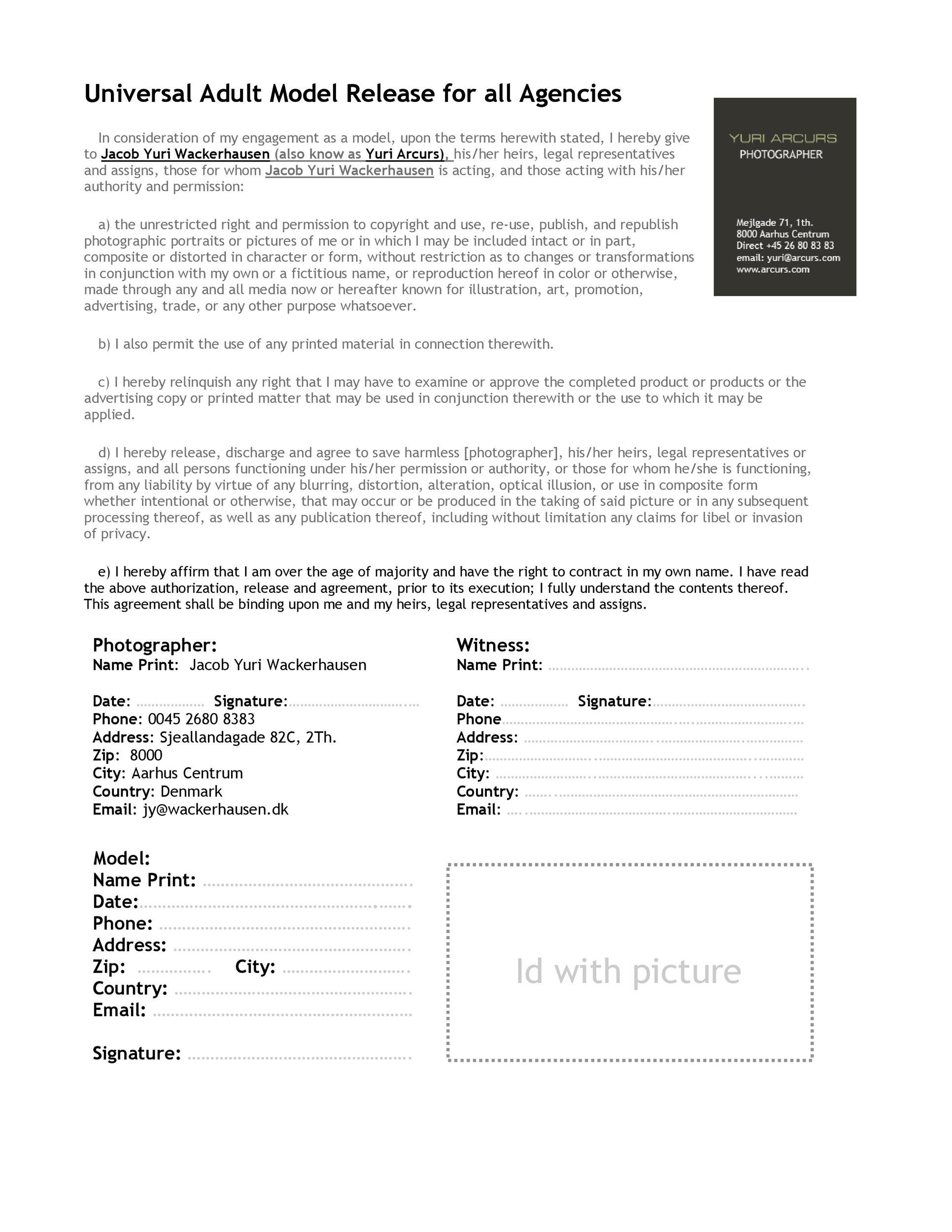 Free model release form 50