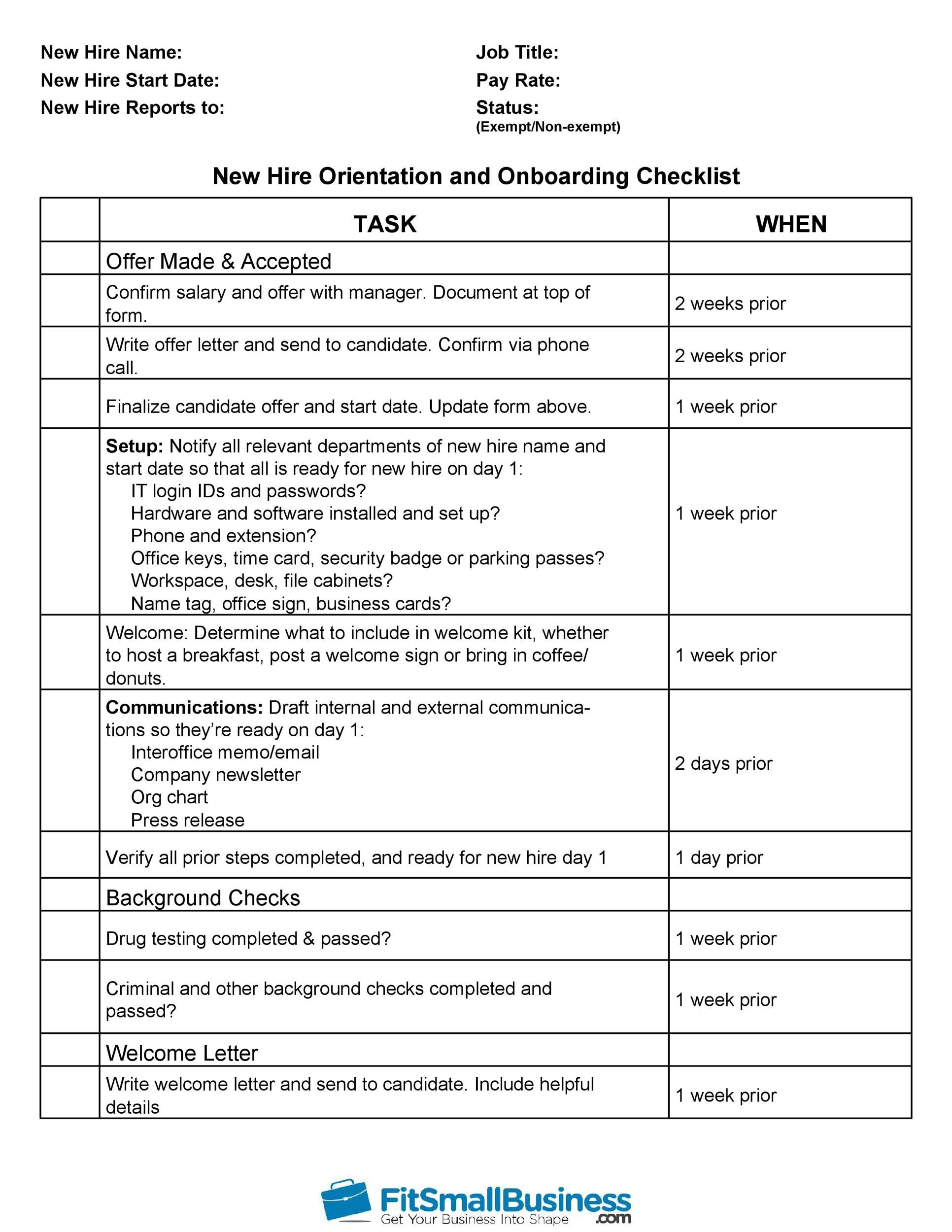 Free new hire checklist 05