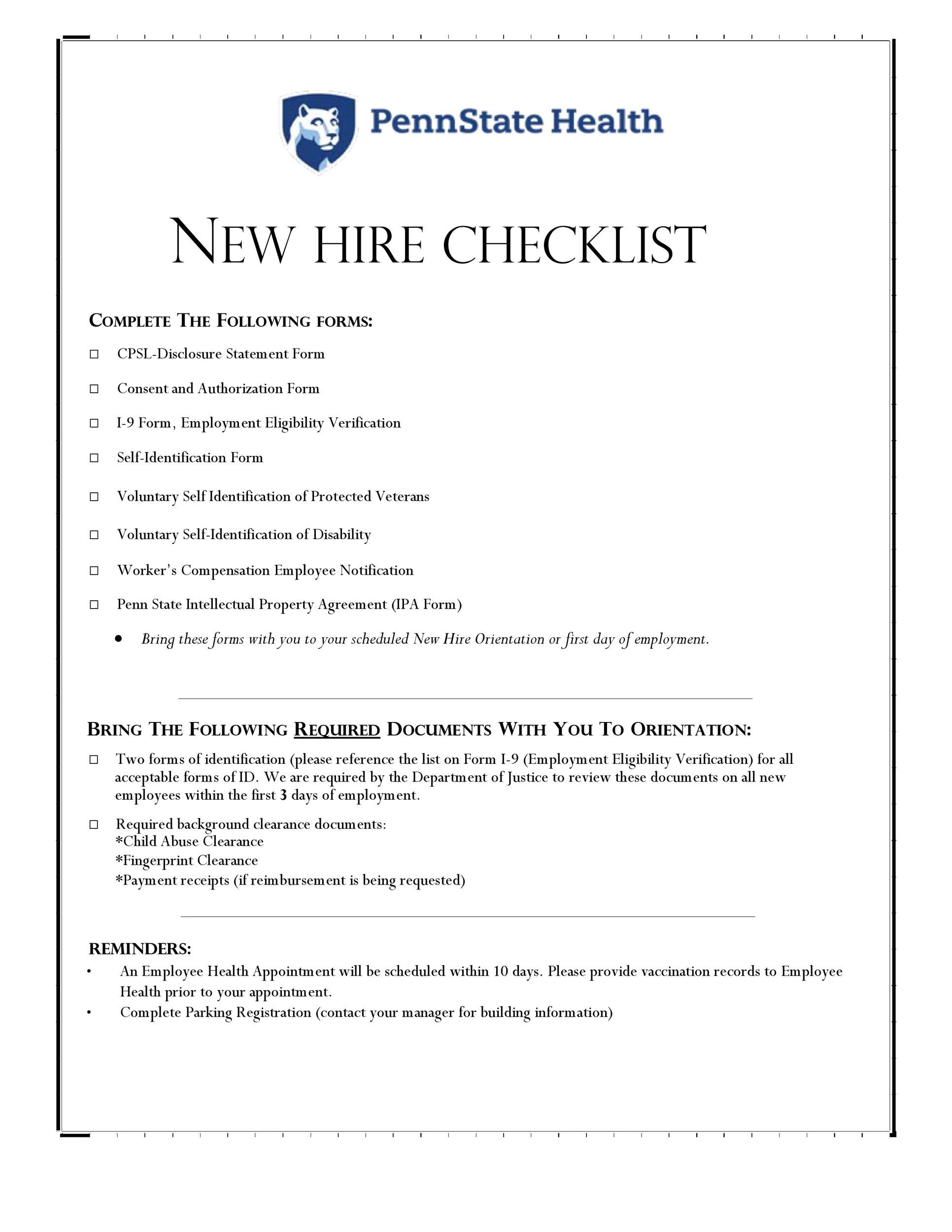 50 Useful New Hire Checklist Templates Forms Á… Templatelab