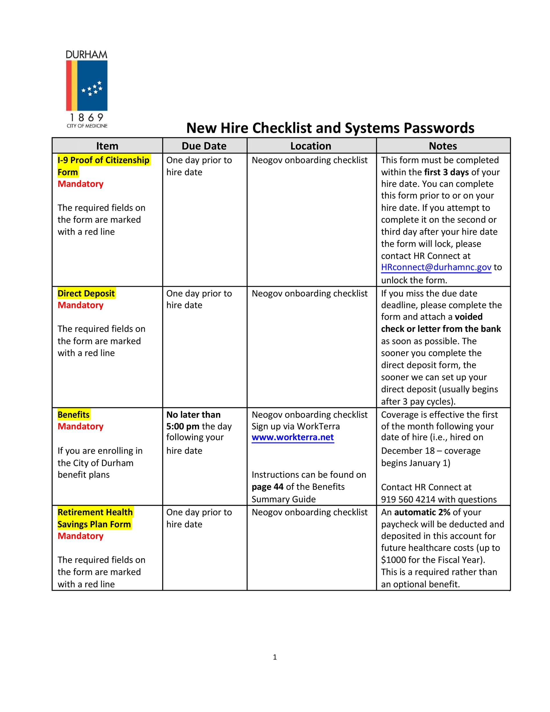 Free new hire checklist 08