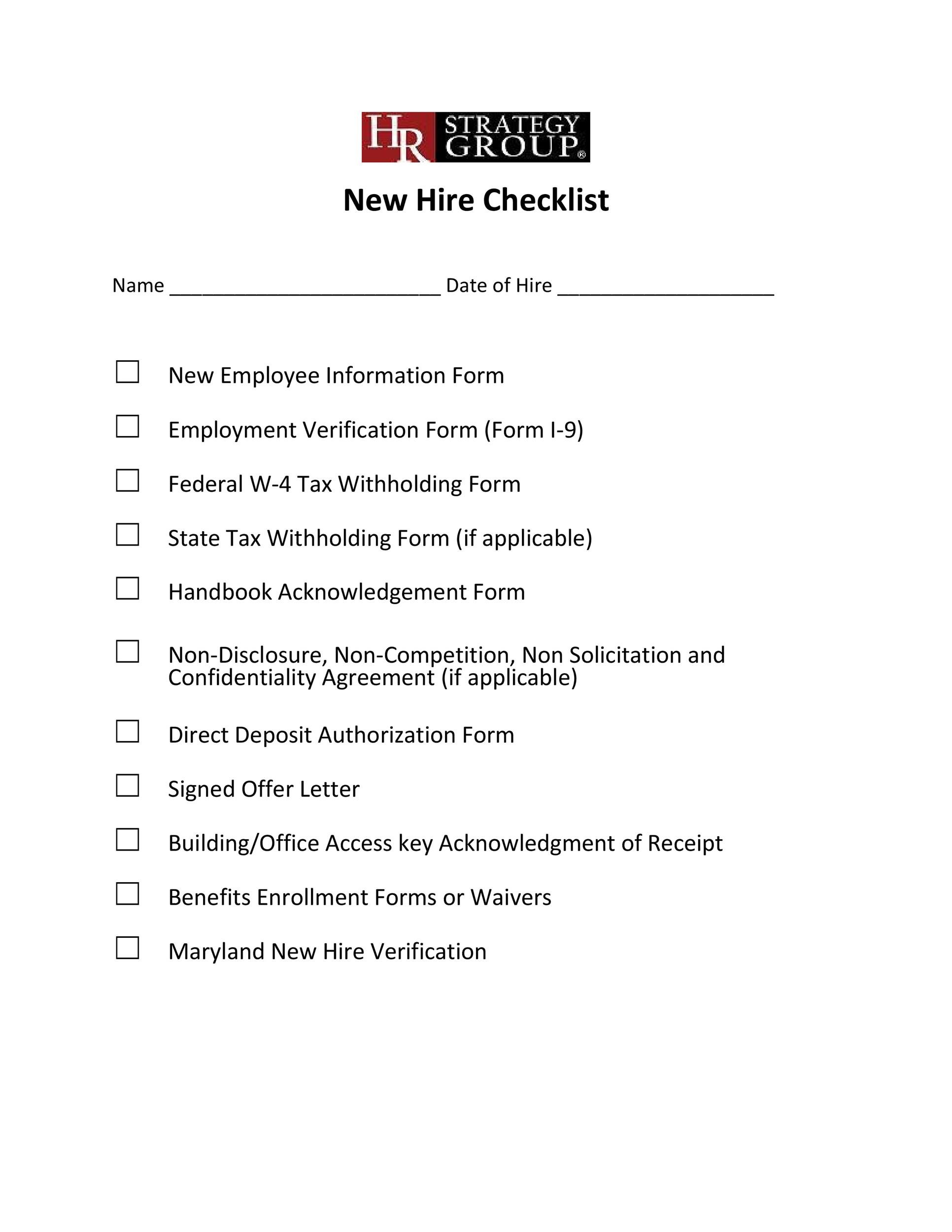 Free new hire checklist 14