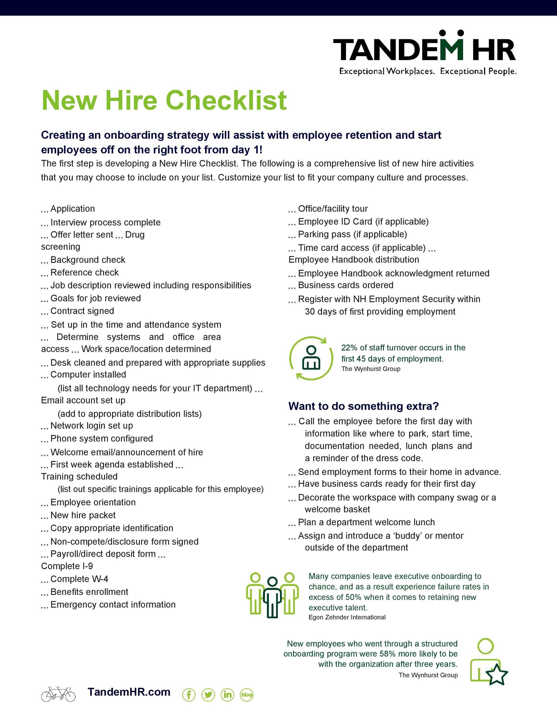 Free new hire checklist 17
