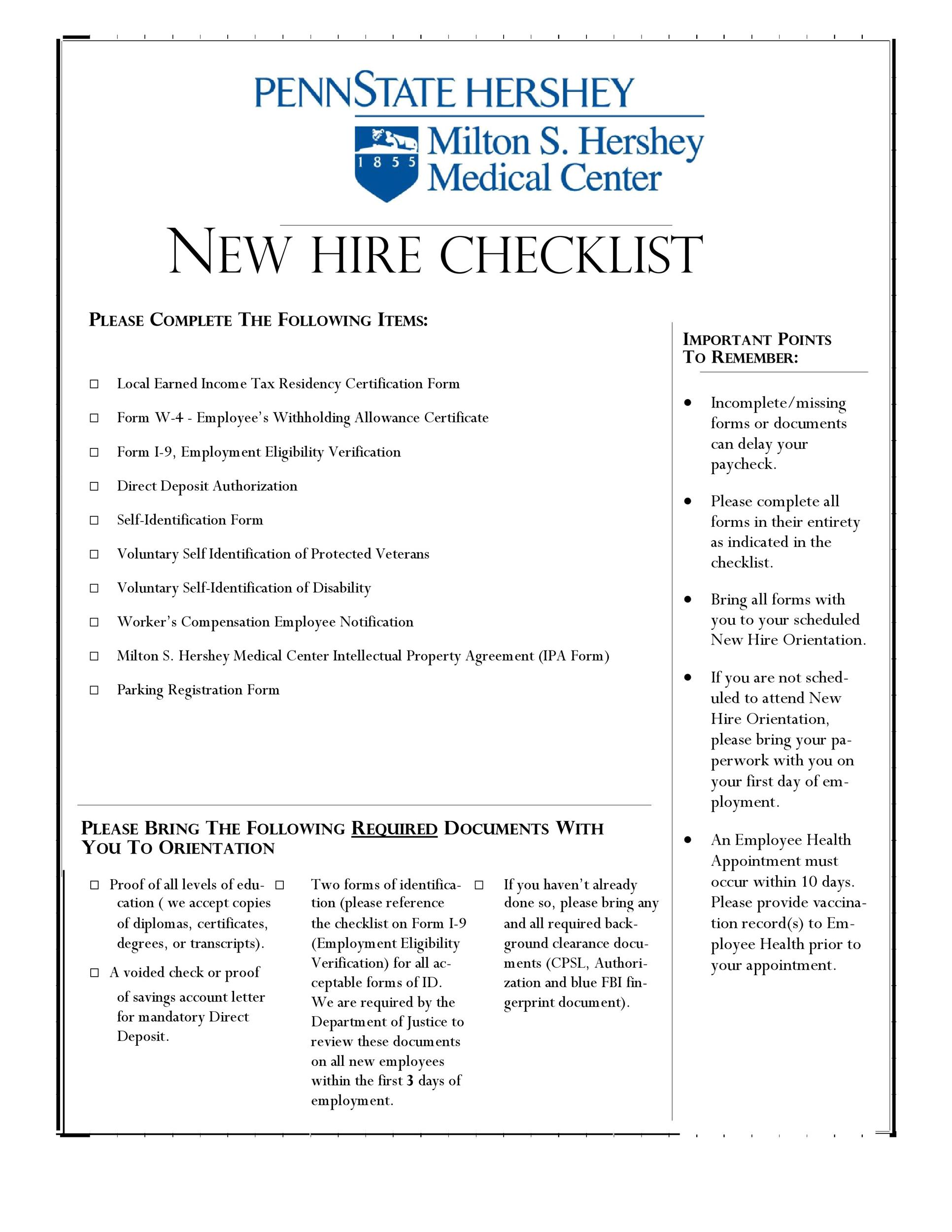 Free new hire checklist 18