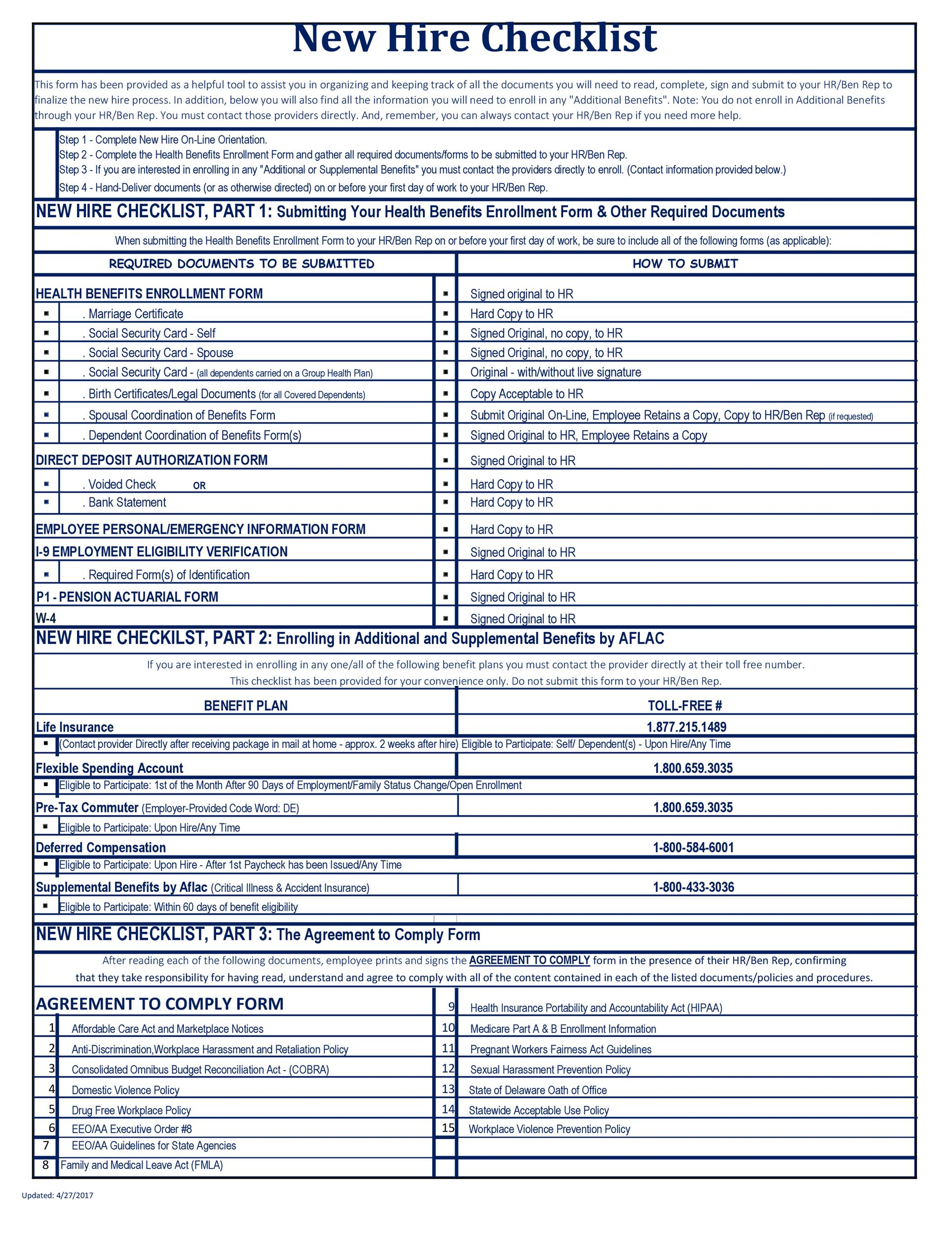 Free new hire checklist 21