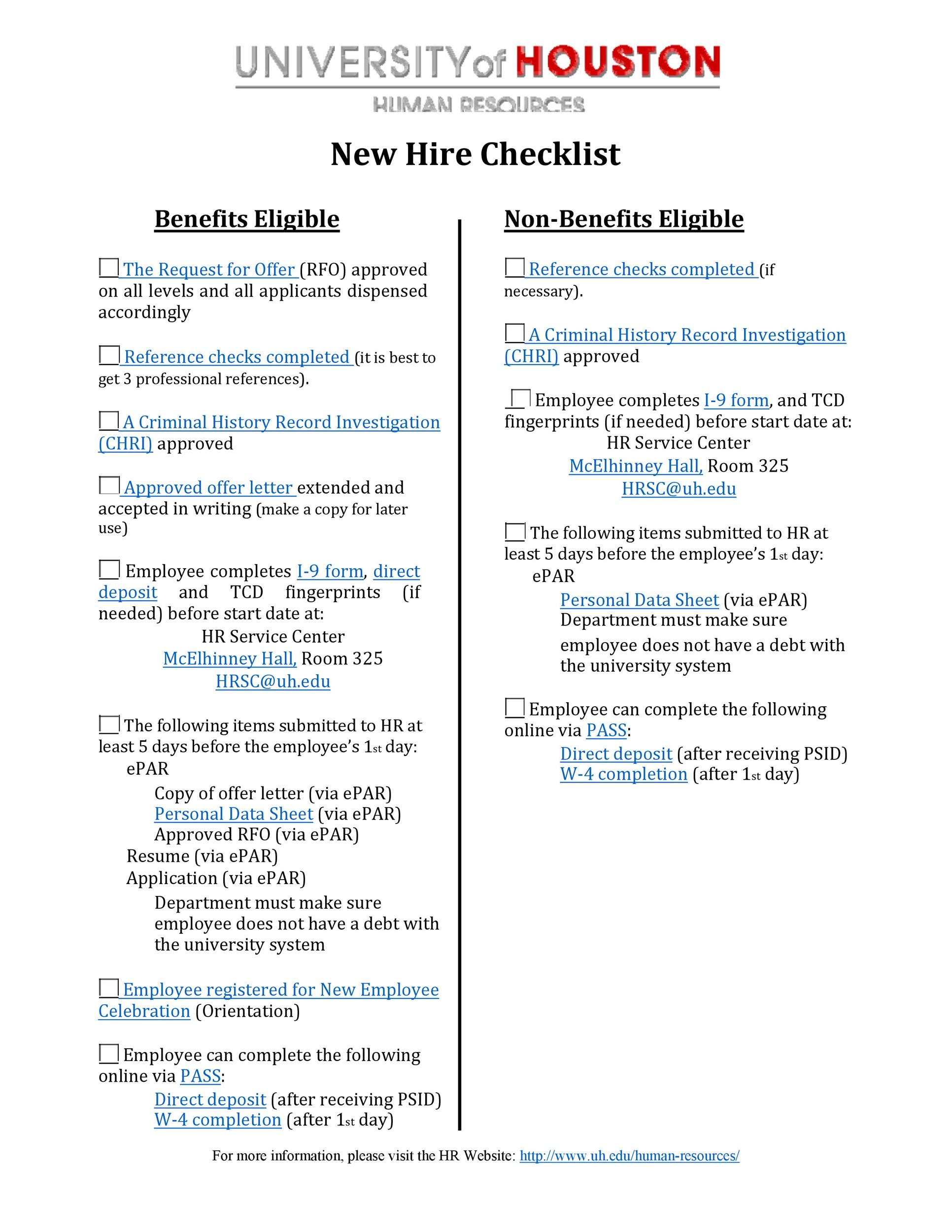 Free new hire checklist 22