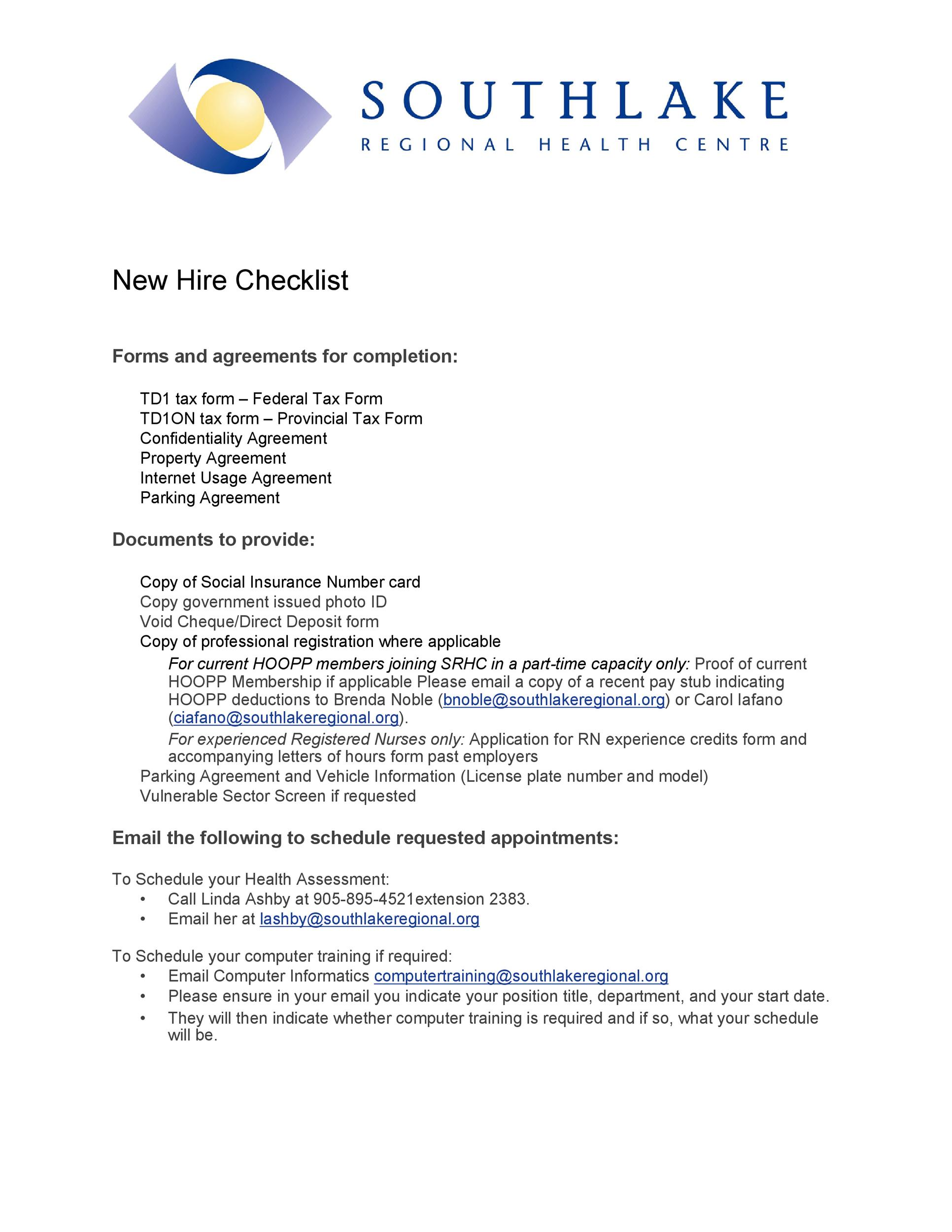 Free new hire checklist 36