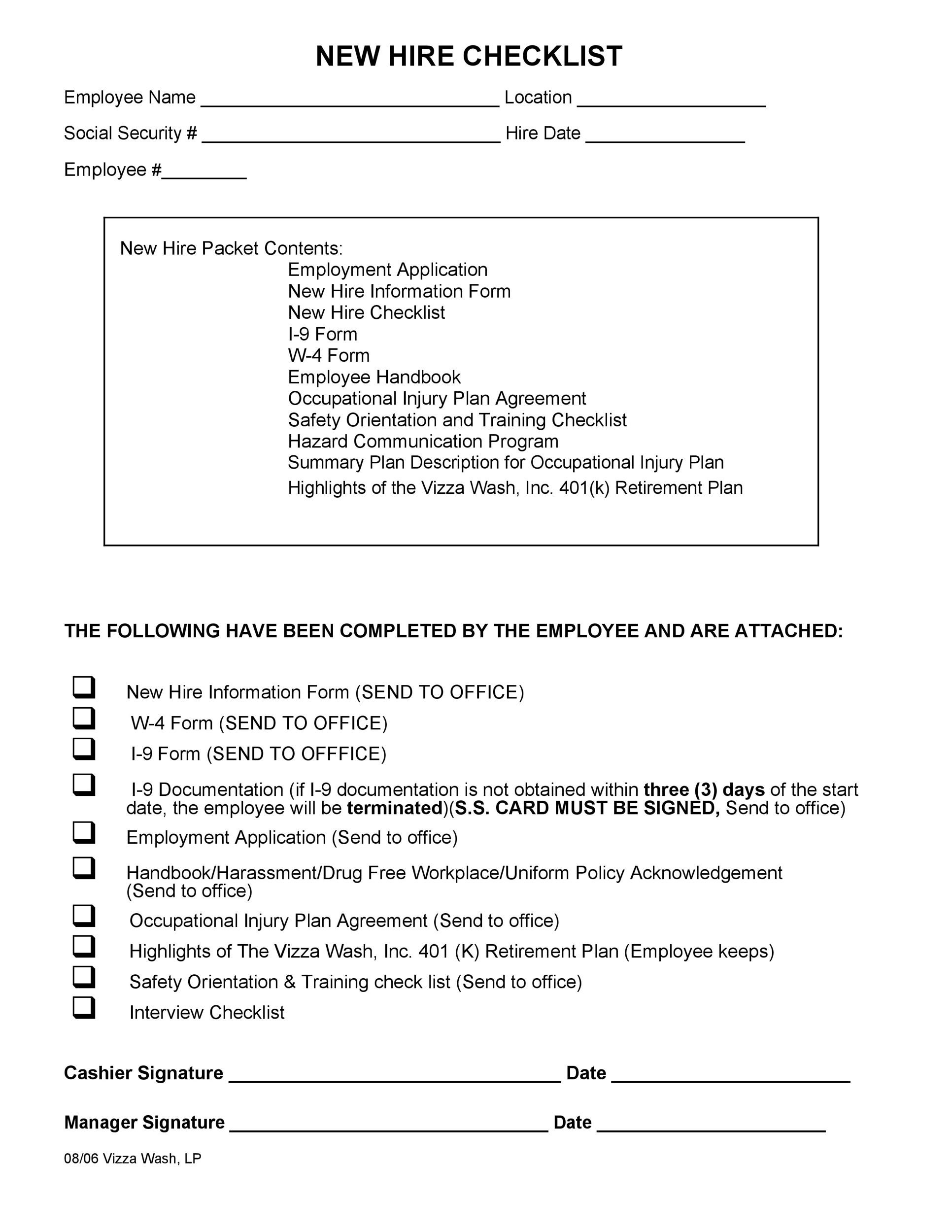 Free new hire checklist 45