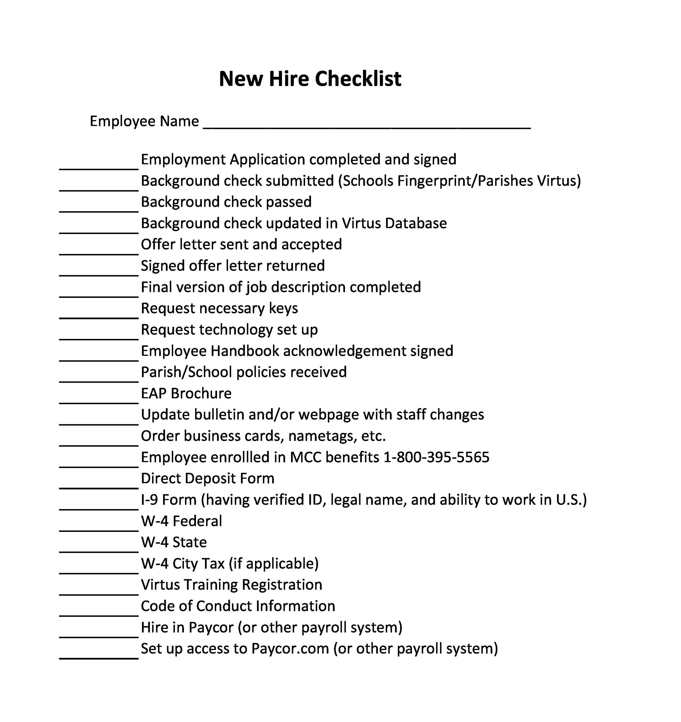 Free new hire checklist 50