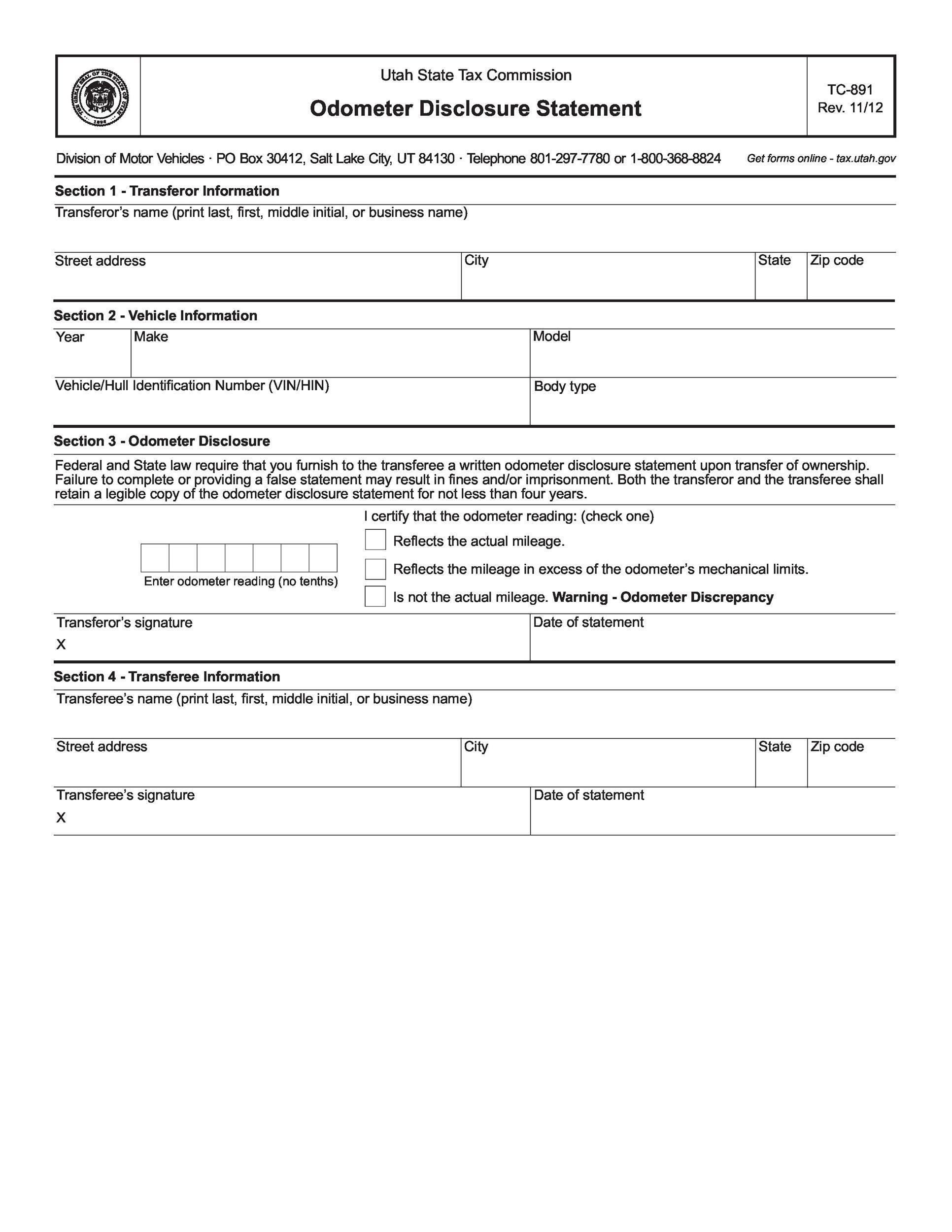 Free odometer disclosure statement 04