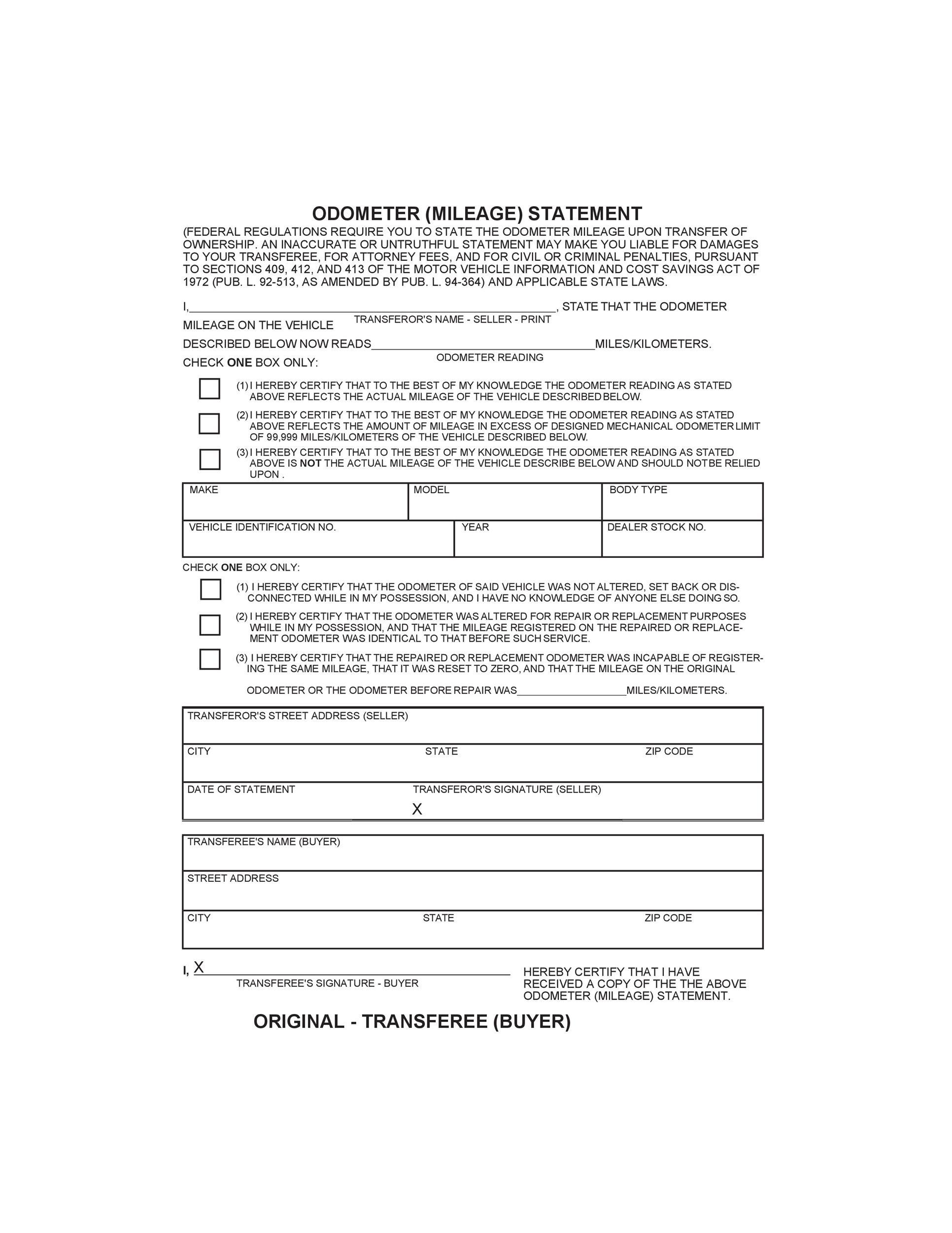 Free odometer disclosure statement 10