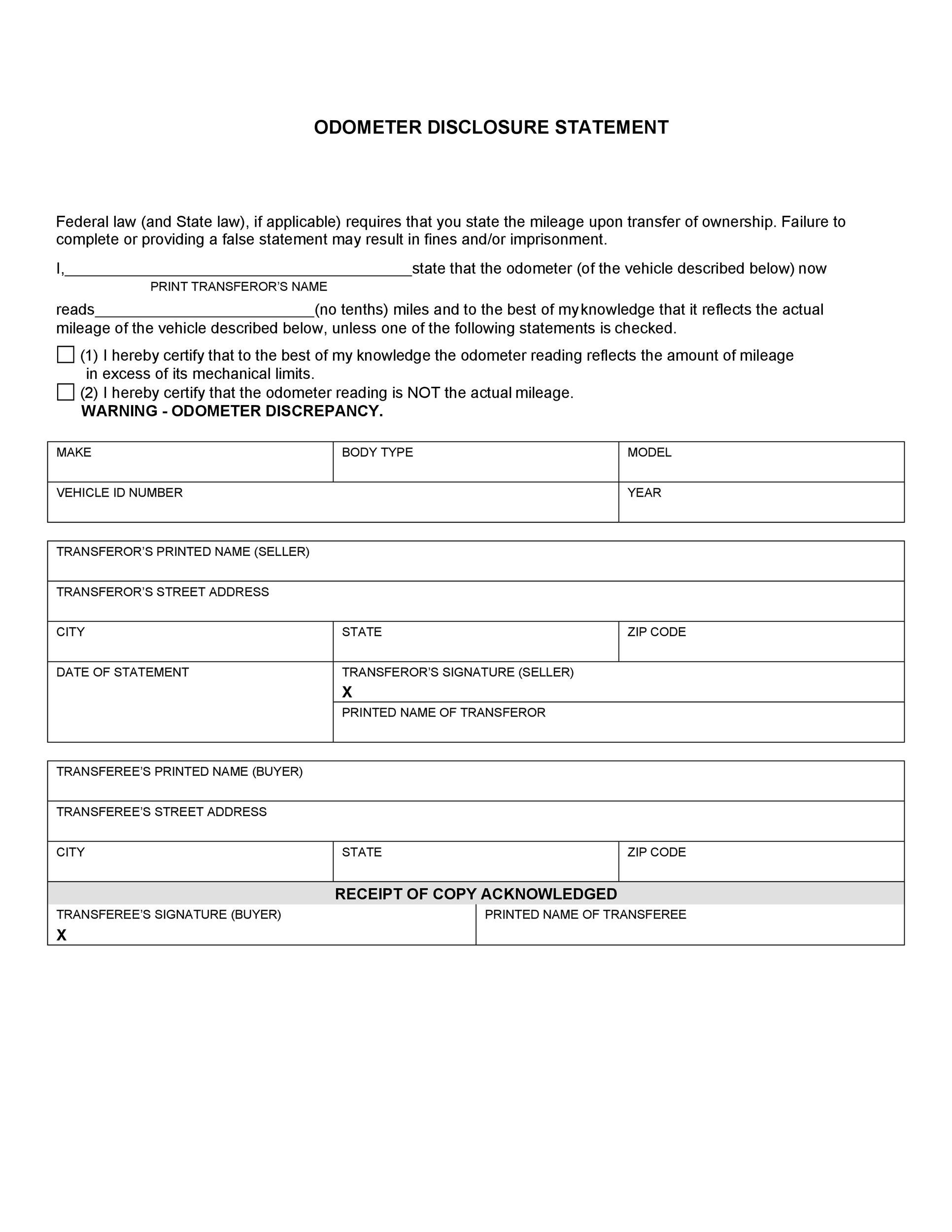 Free odometer disclosure statement 13