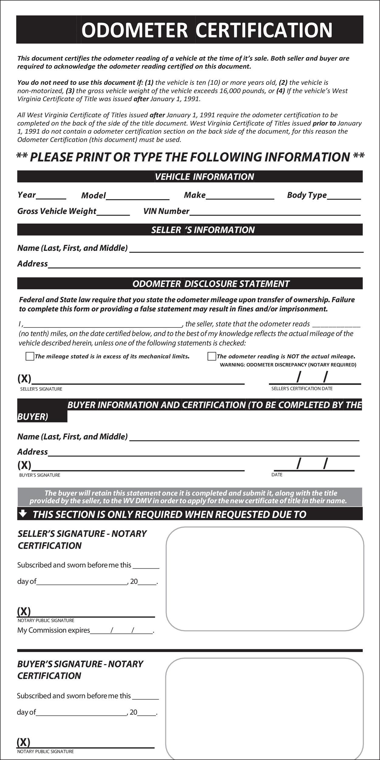 Free odometer disclosure statement 14