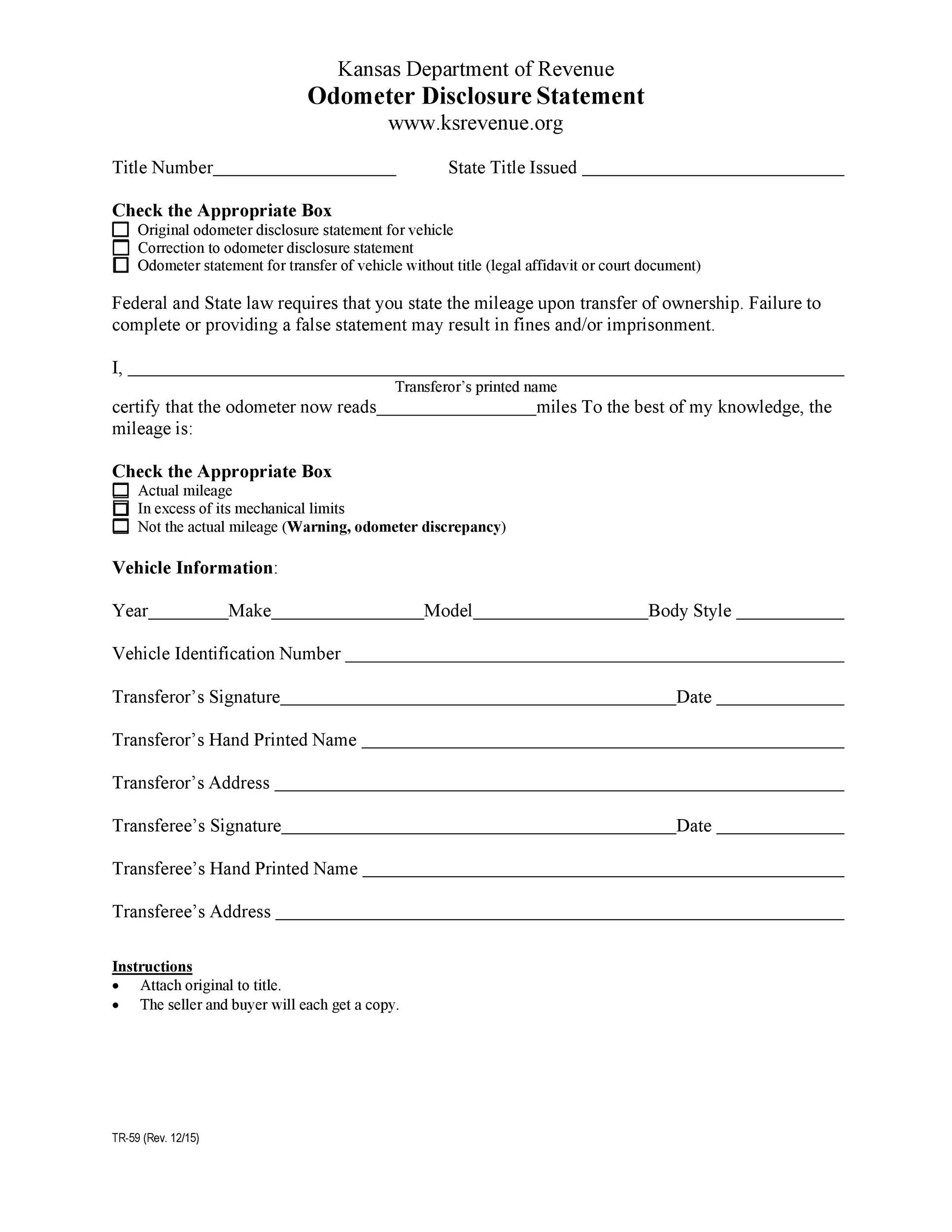 Free odometer disclosure statement 20