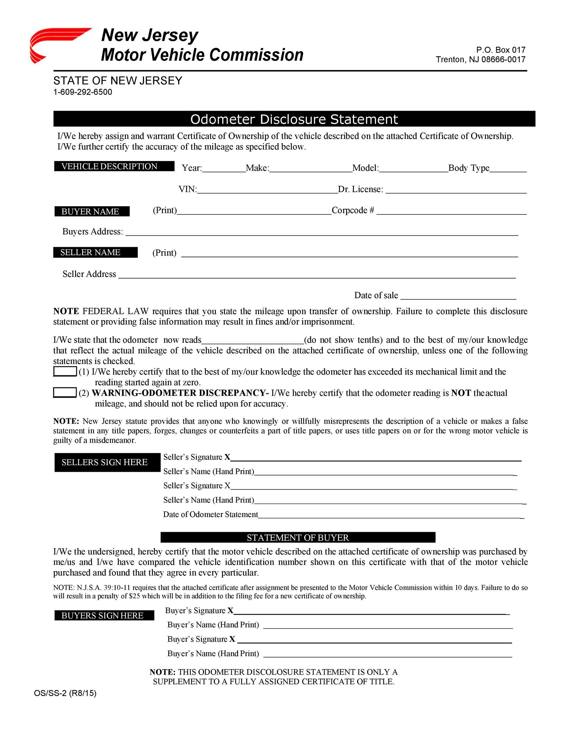 Free odometer disclosure statement 22
