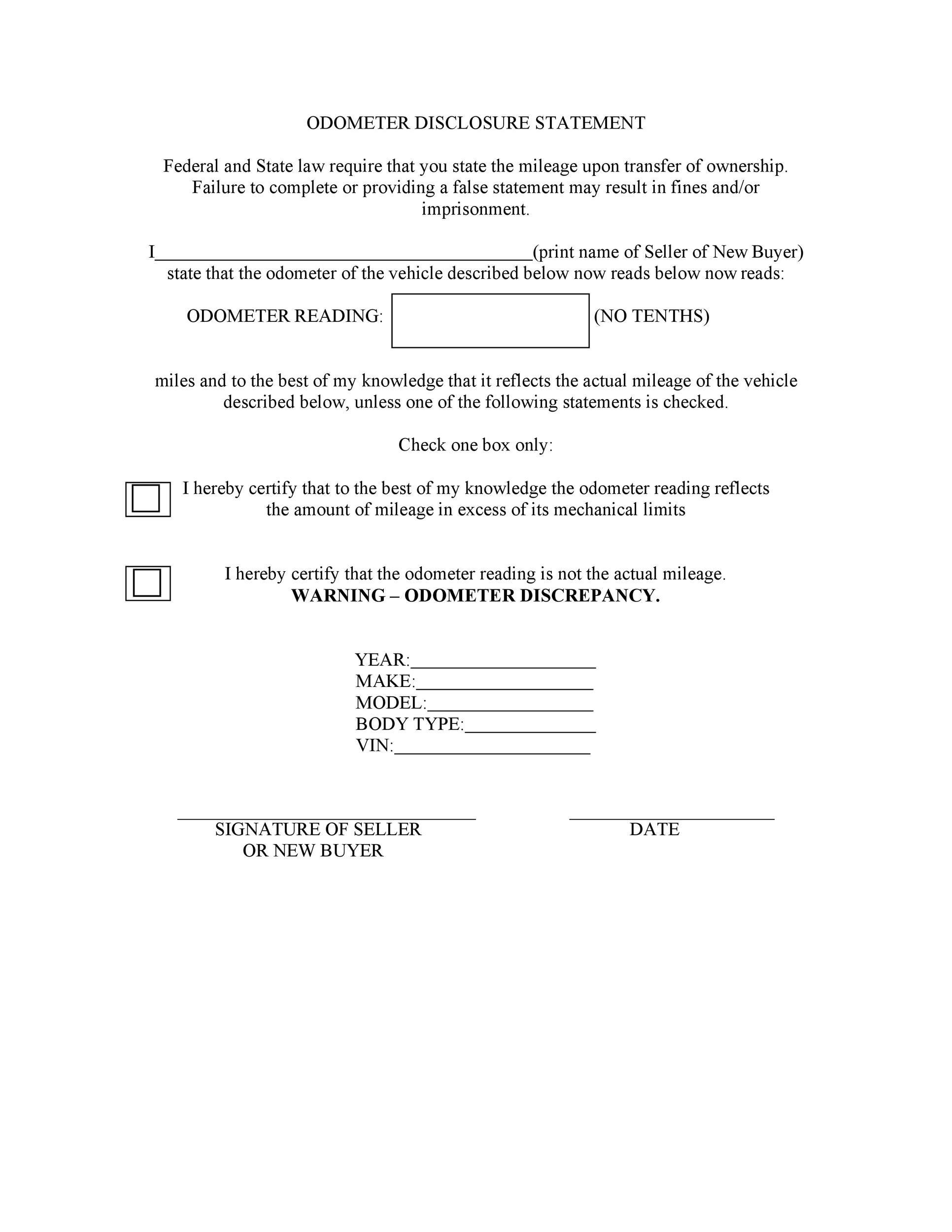 Free odometer disclosure statement 25