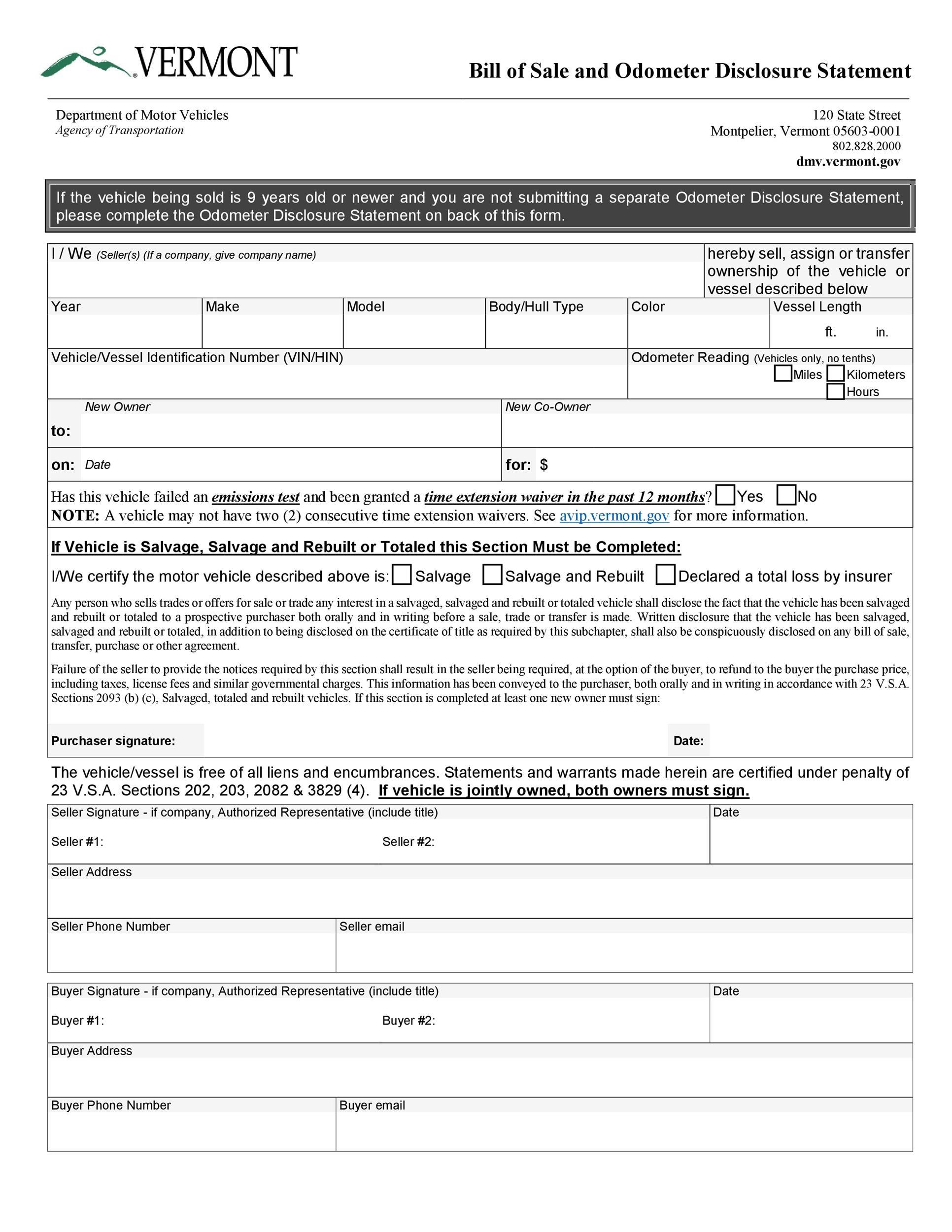 Free odometer disclosure statement 27