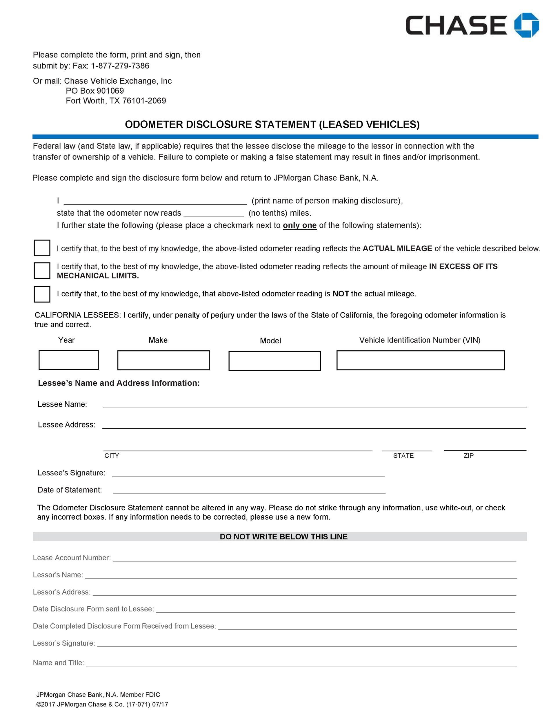 Free odometer disclosure statement 29