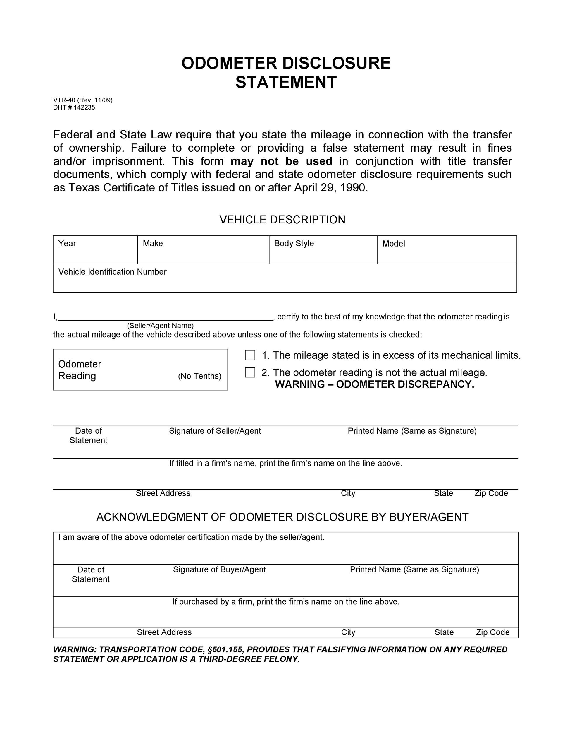 Free odometer disclosure statement 30