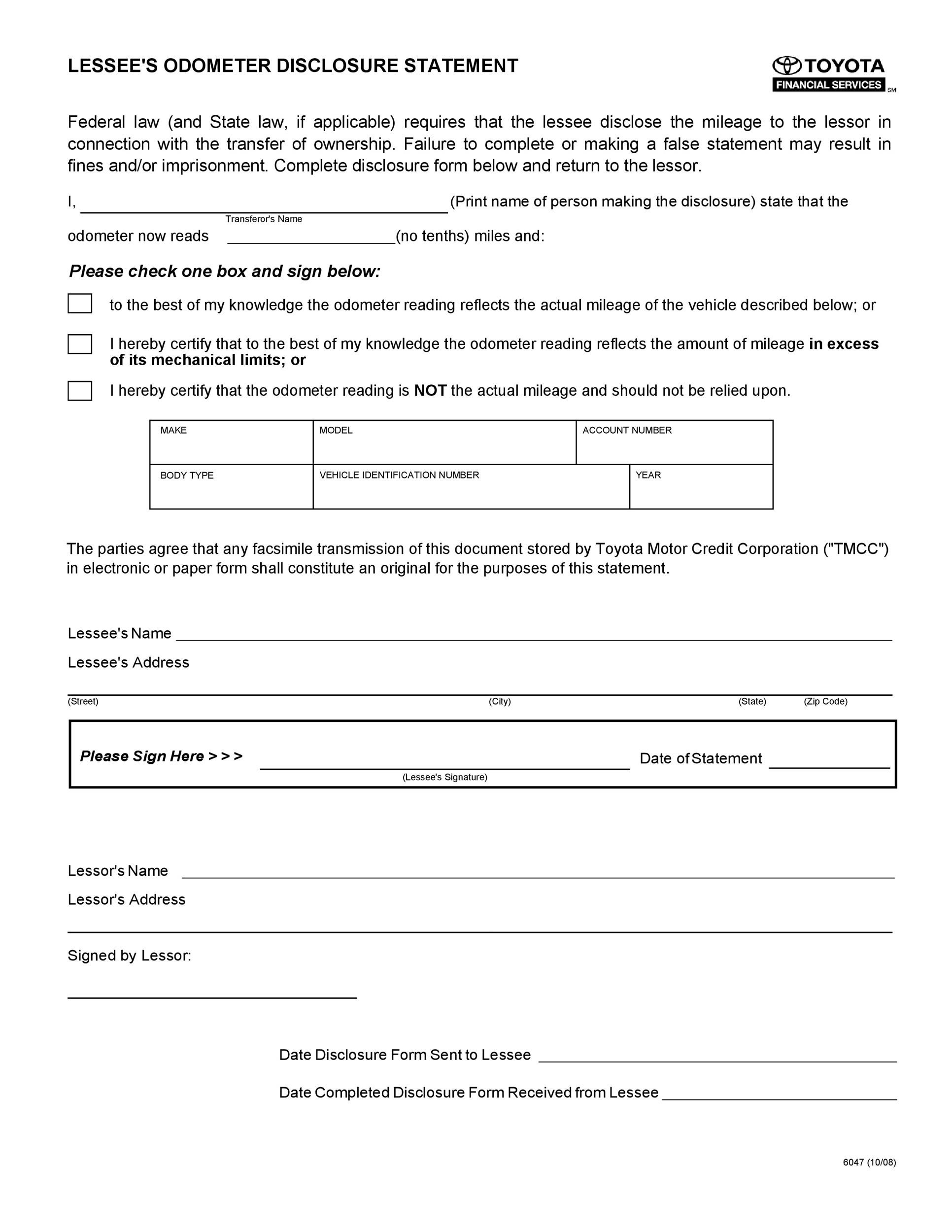 Free odometer disclosure statement 34