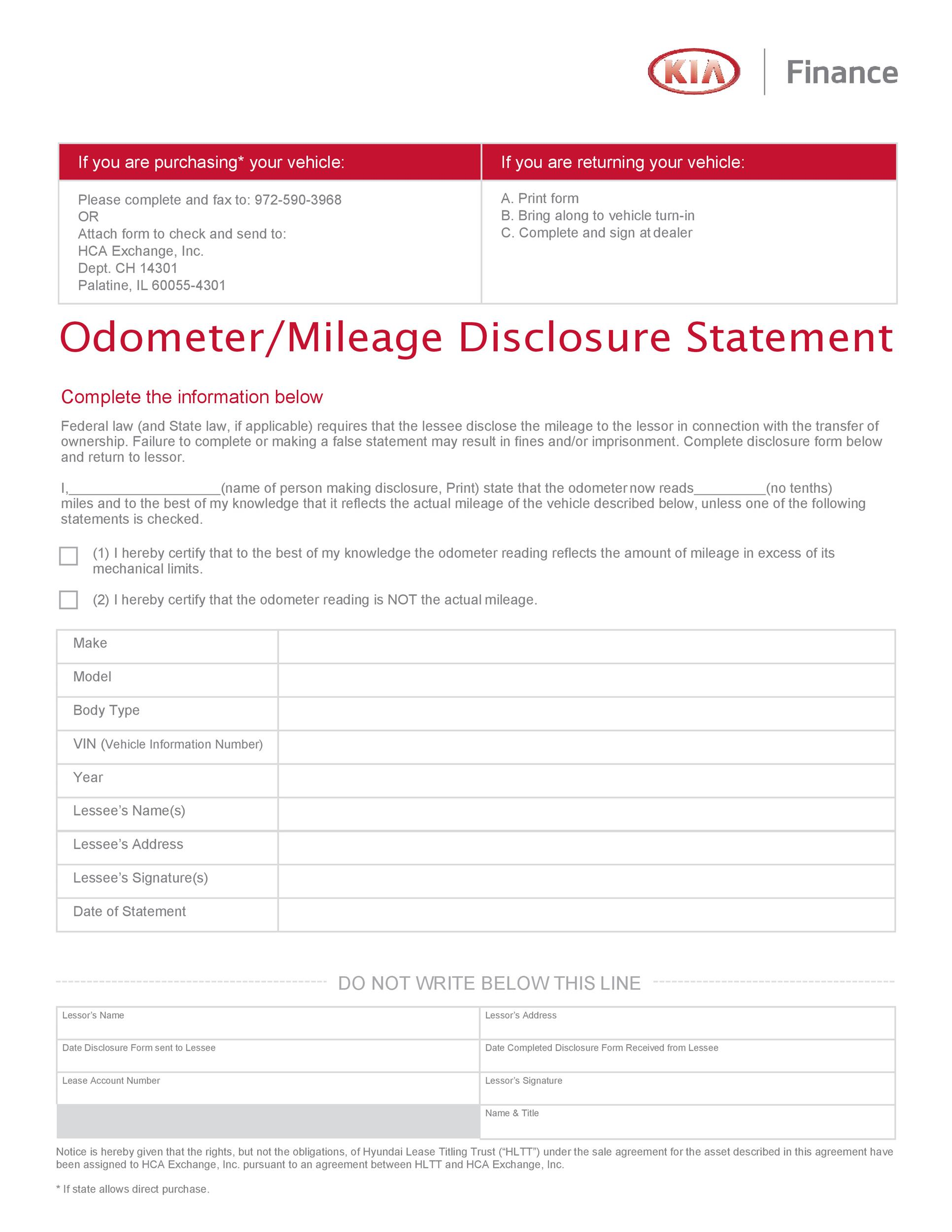 Free odometer disclosure statement 35