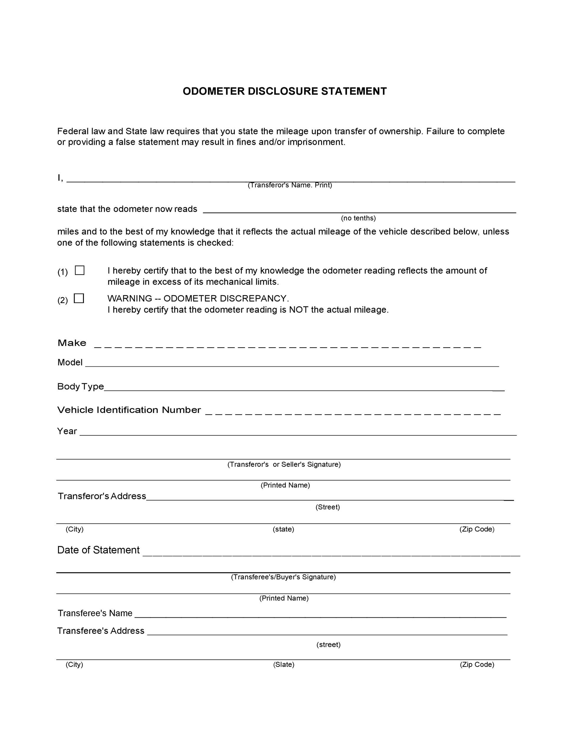 Free odometer disclosure statement 36