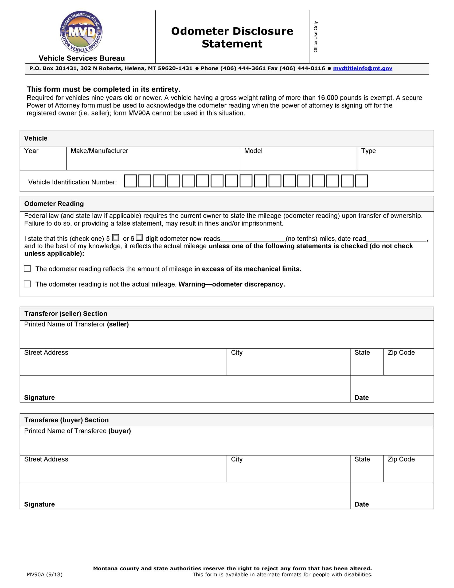 Free odometer disclosure statement 37