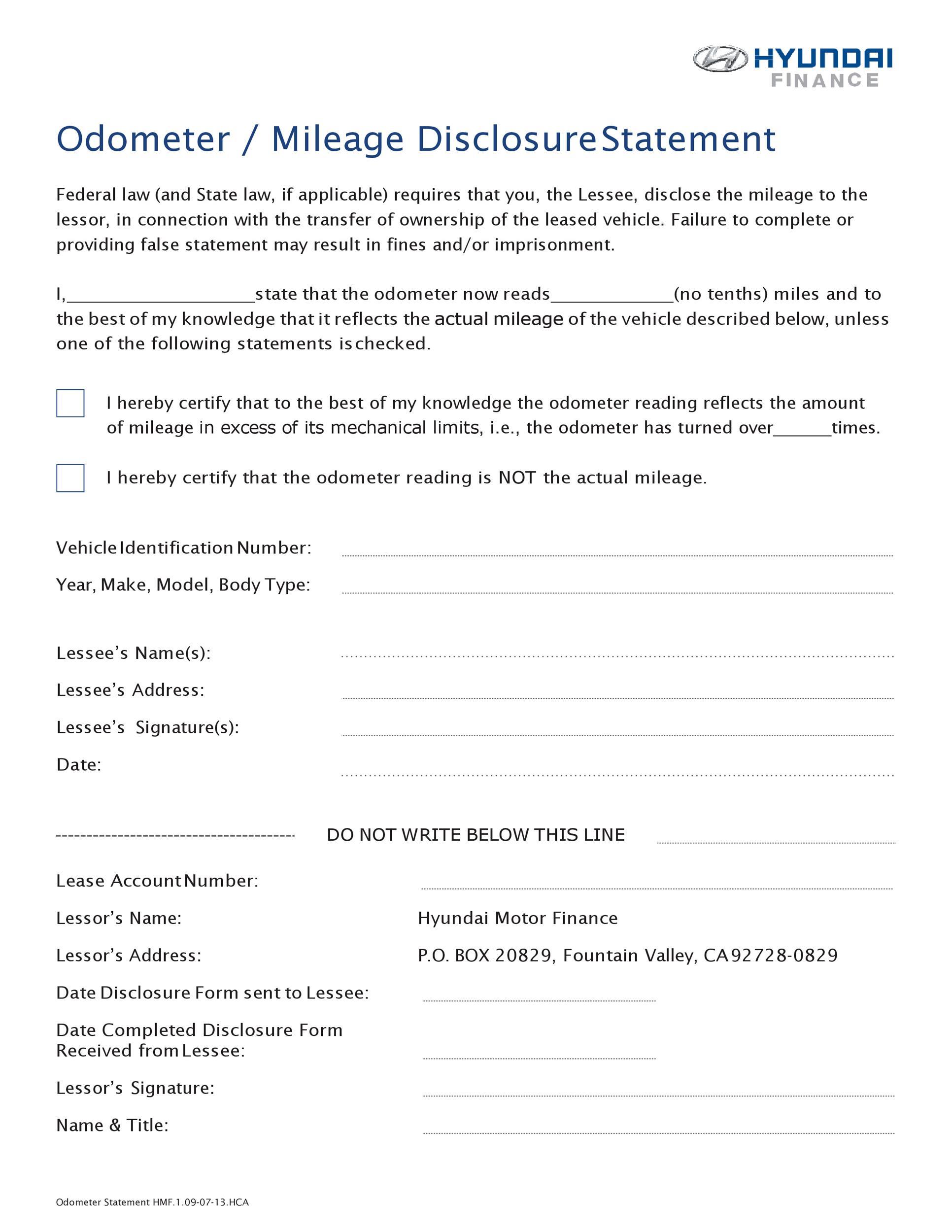 Free odometer disclosure statement 38