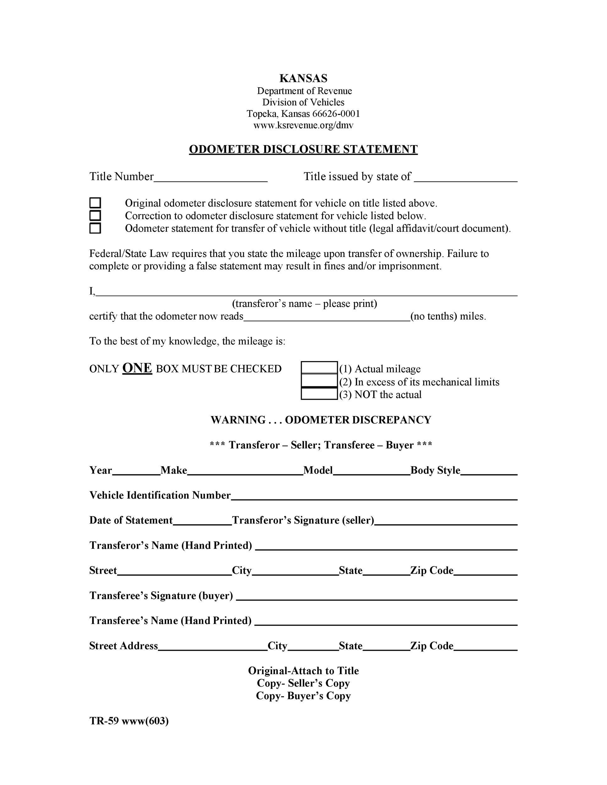 Free odometer disclosure statement 43