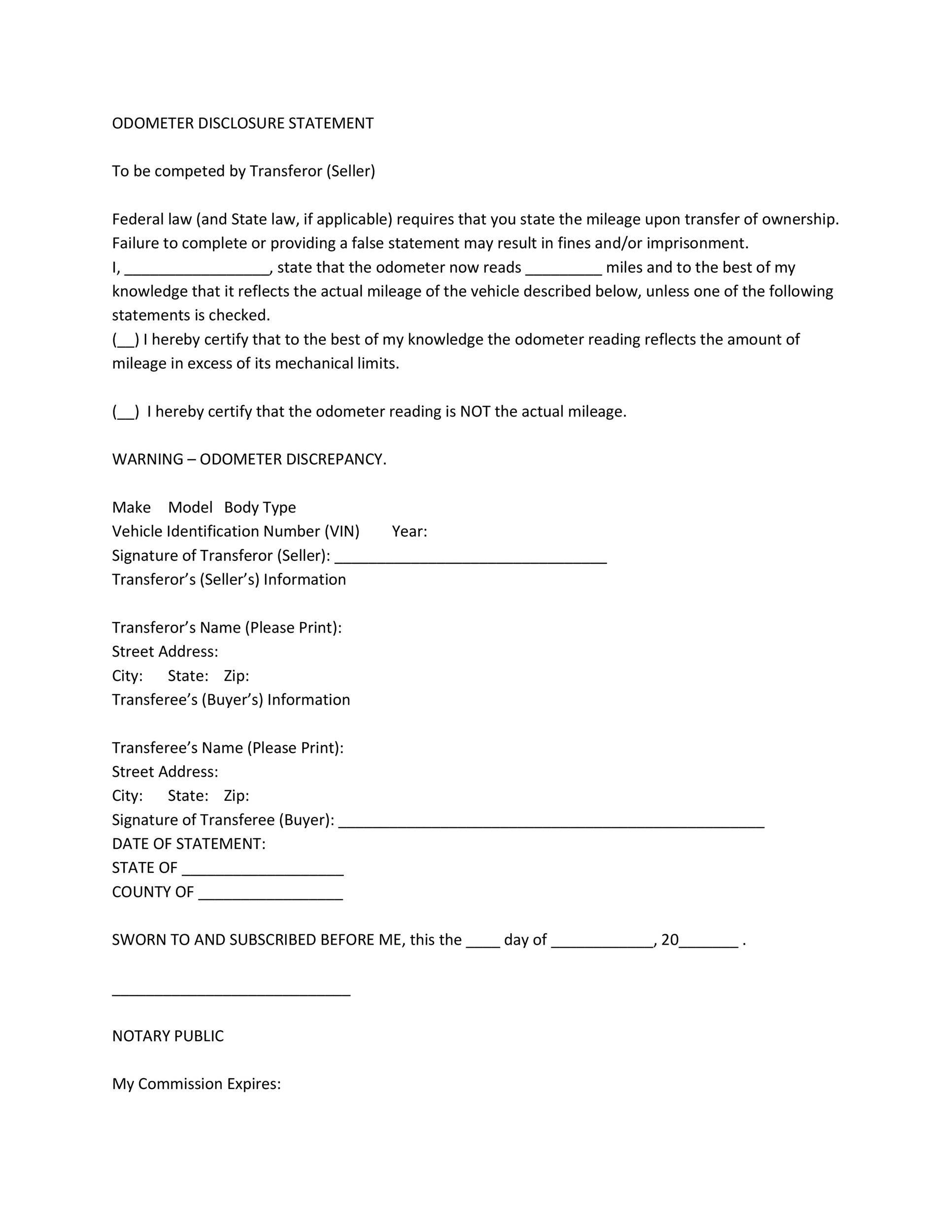 Free odometer disclosure statement 45