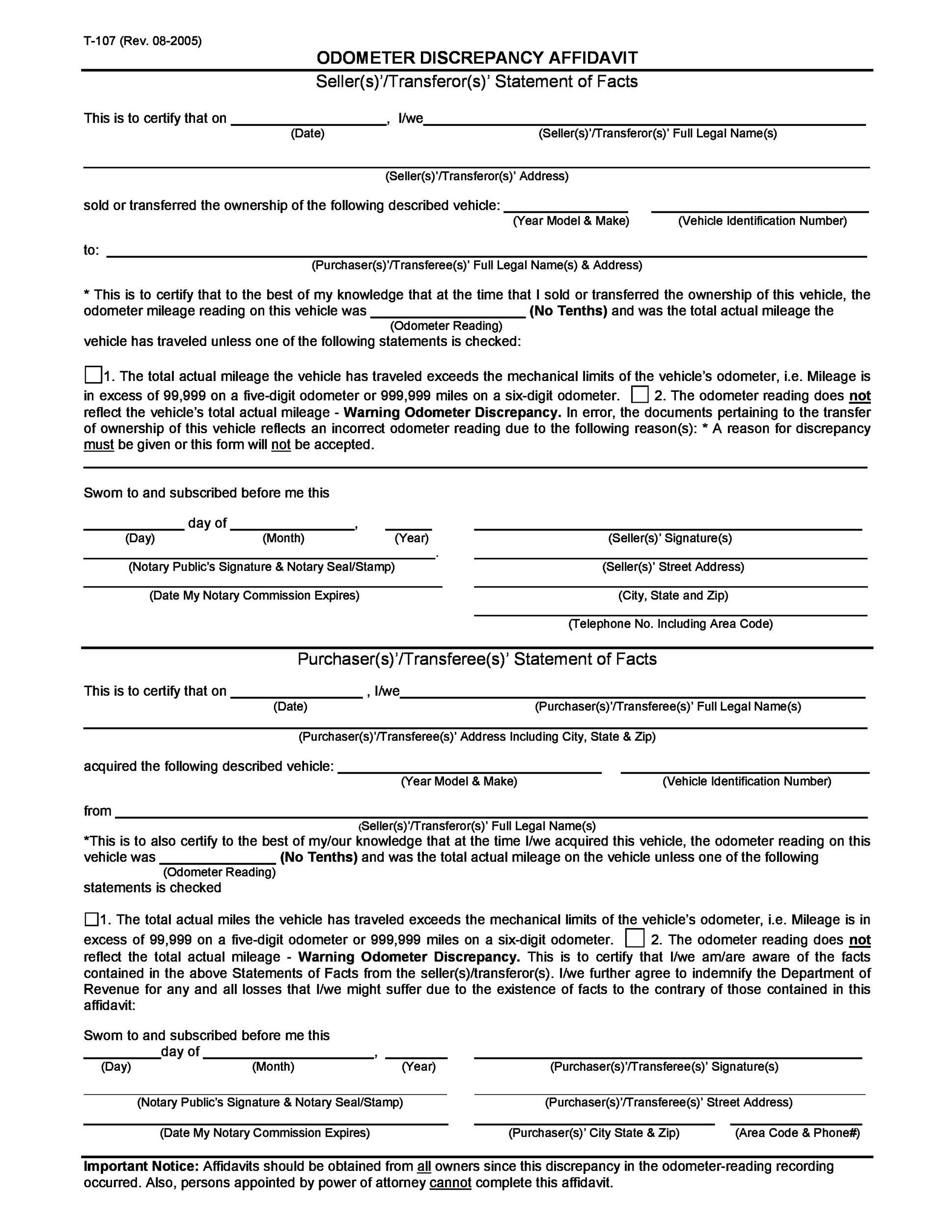 Free odometer disclosure statement 47