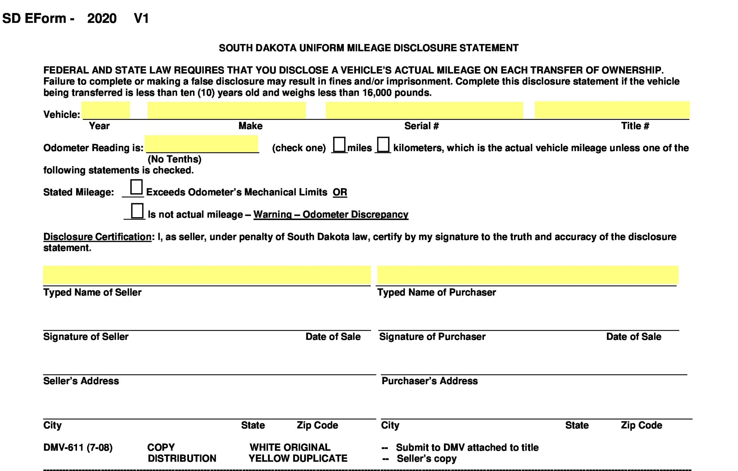 Free odometer disclosure statement 49