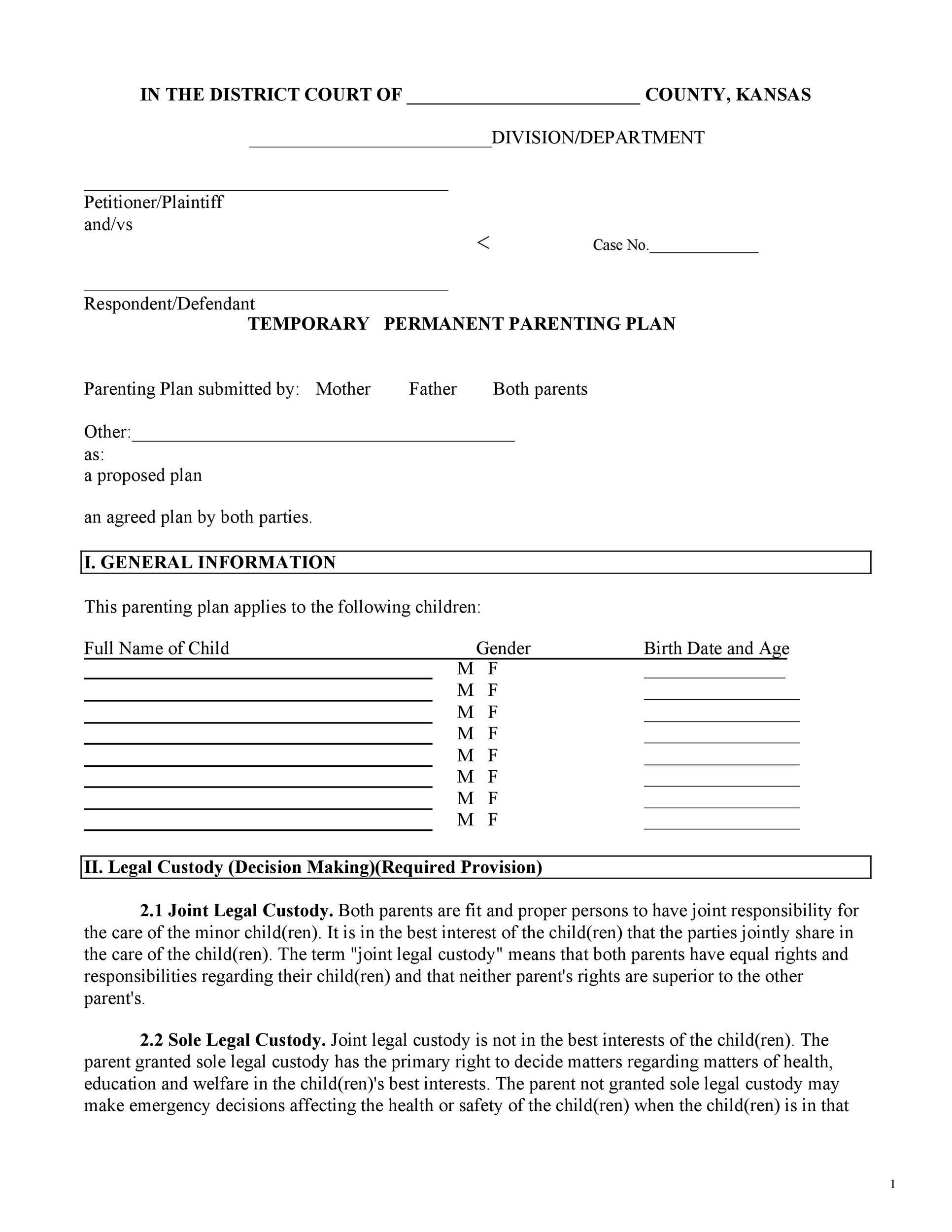 Free parenting plan template 01