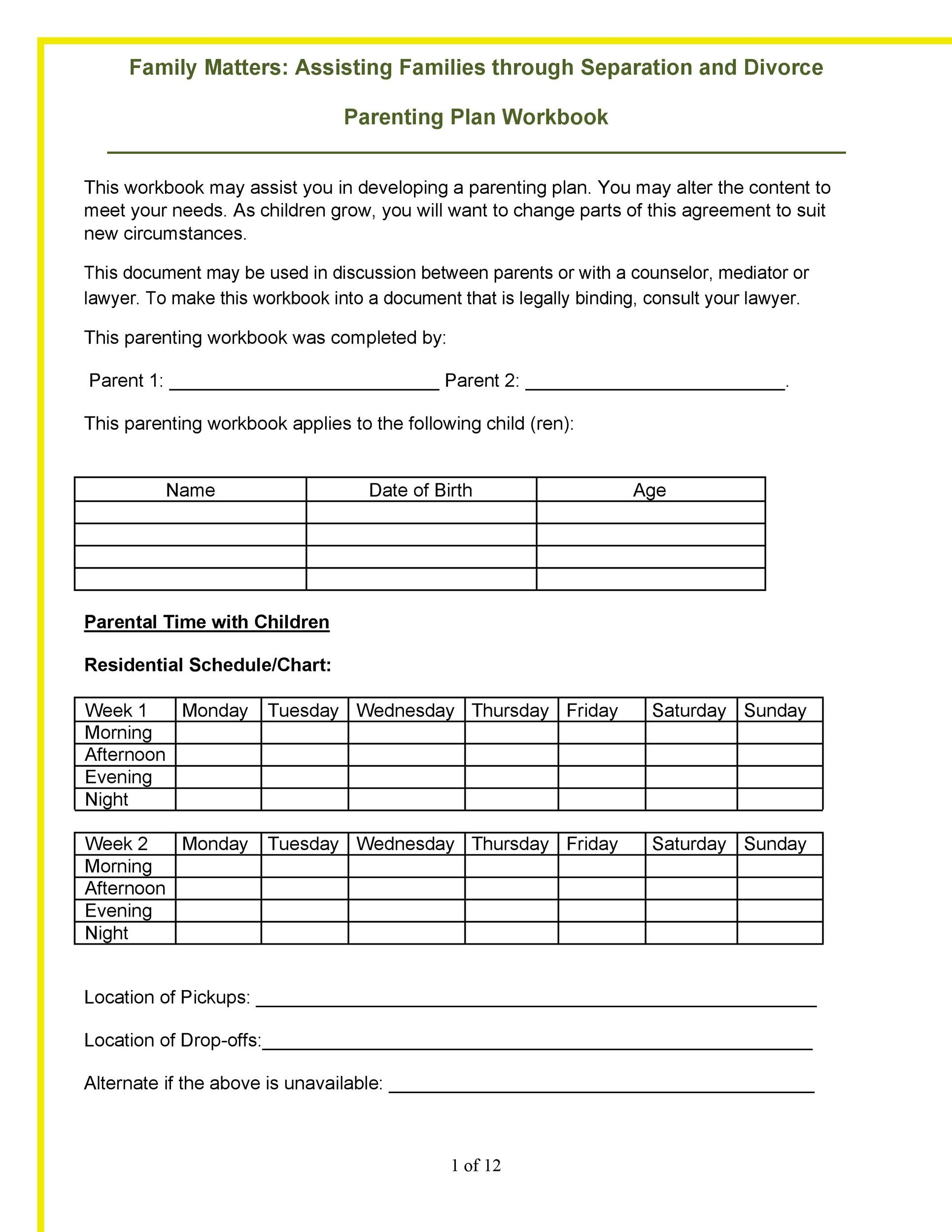 Free parenting plan template 03
