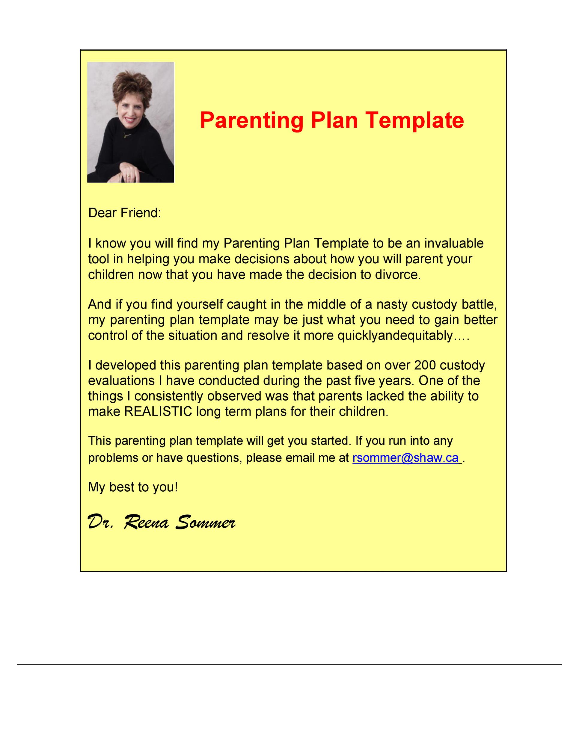 Free parenting plan template 06