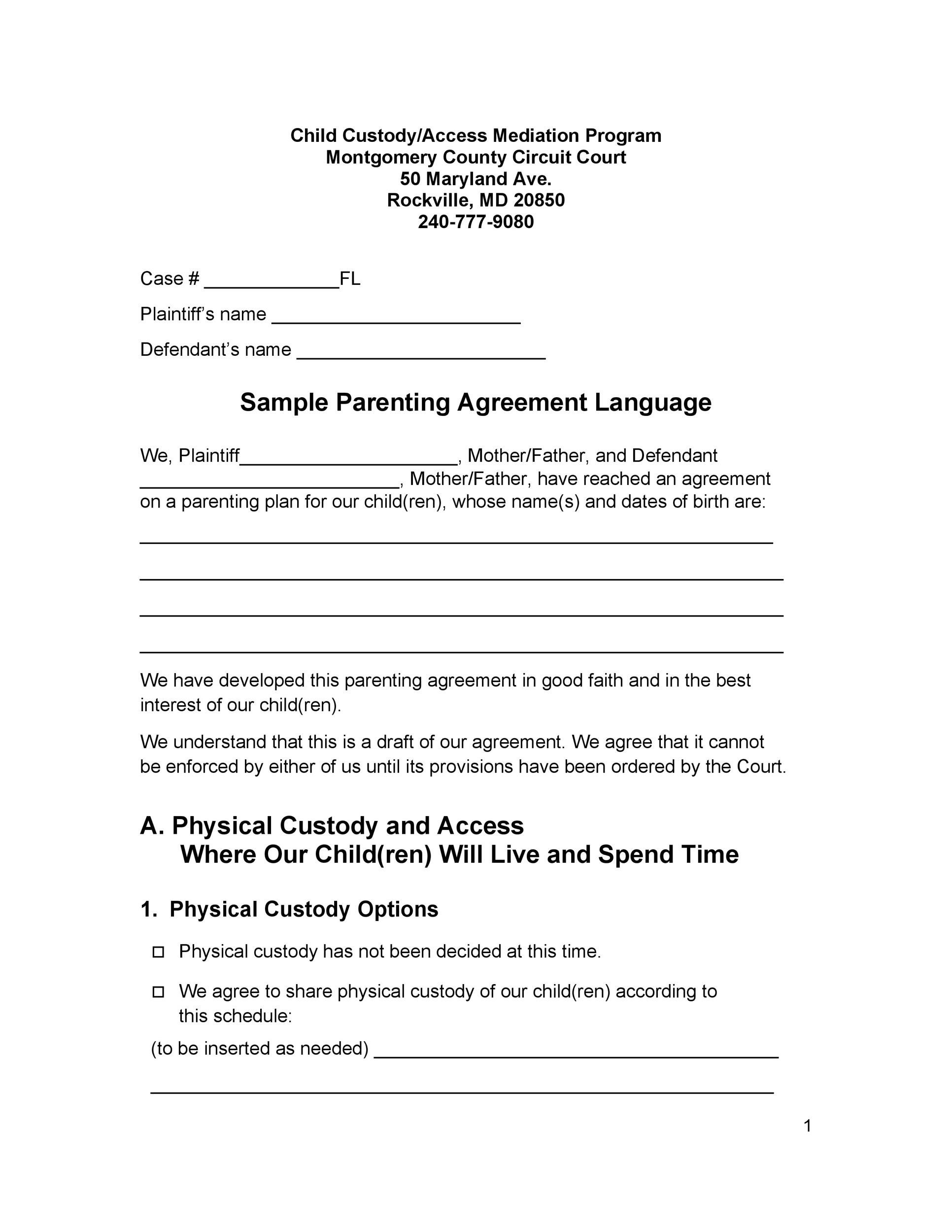 Free parenting plan template 08