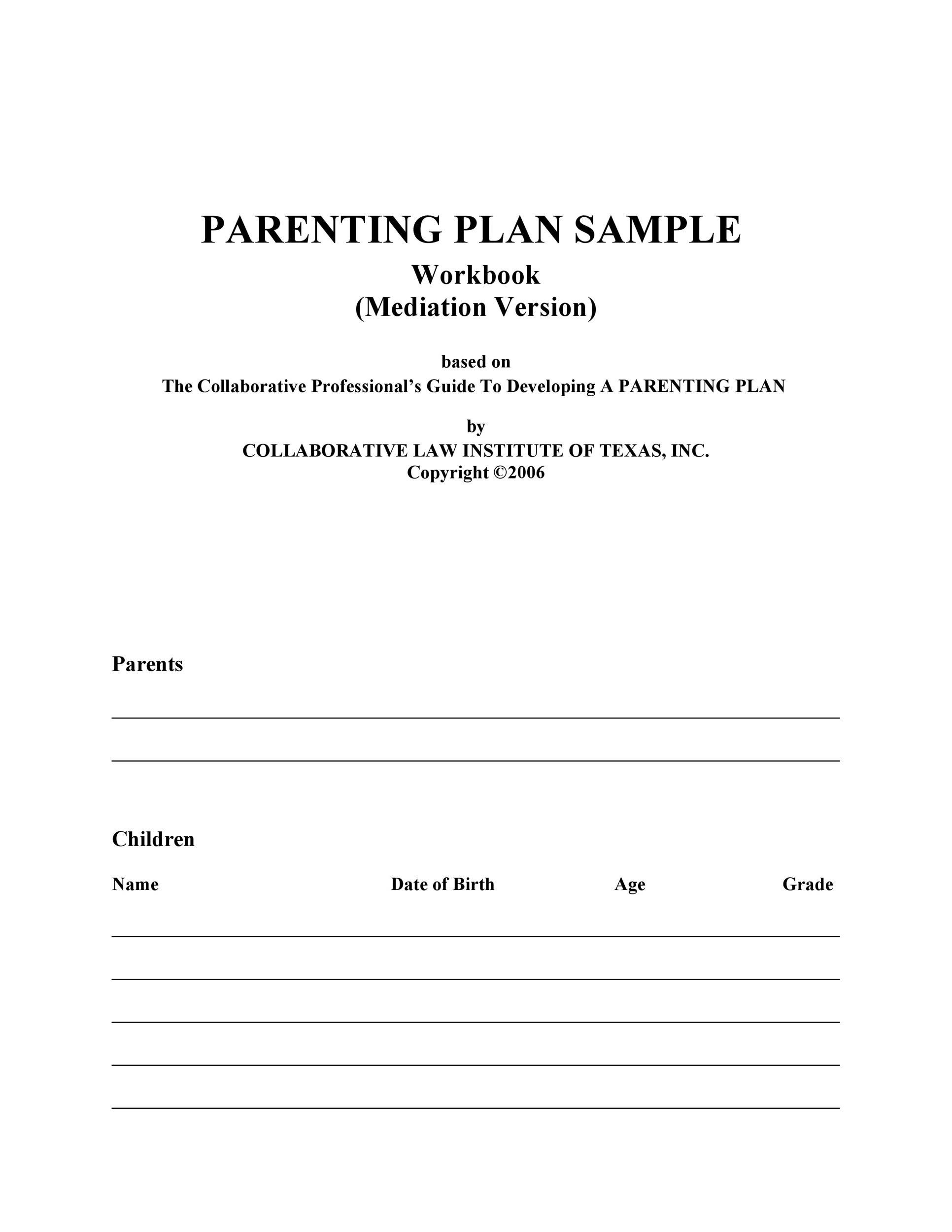 Free parenting plan template 10