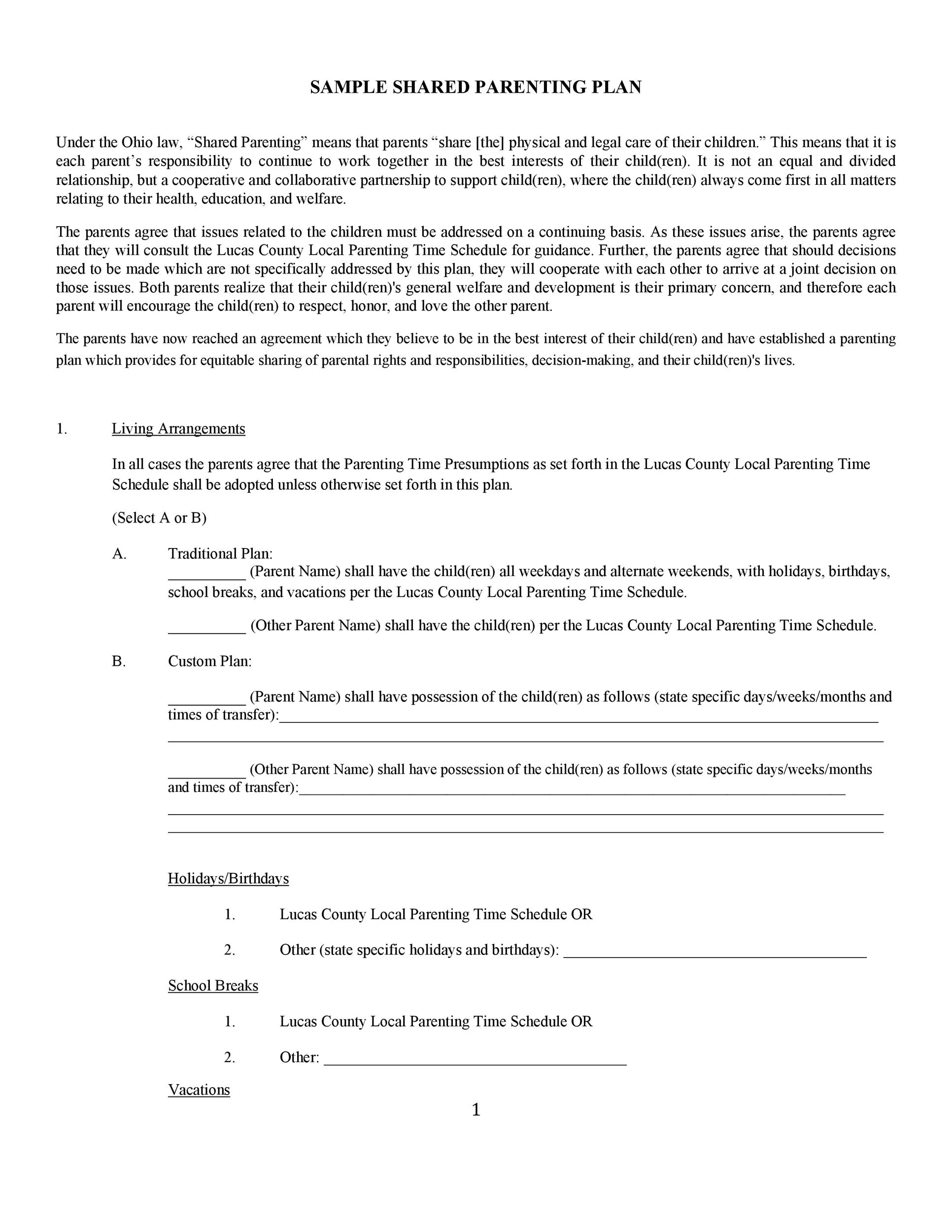 49 Free Parenting Plan Custody Agreement Templates ᐅ