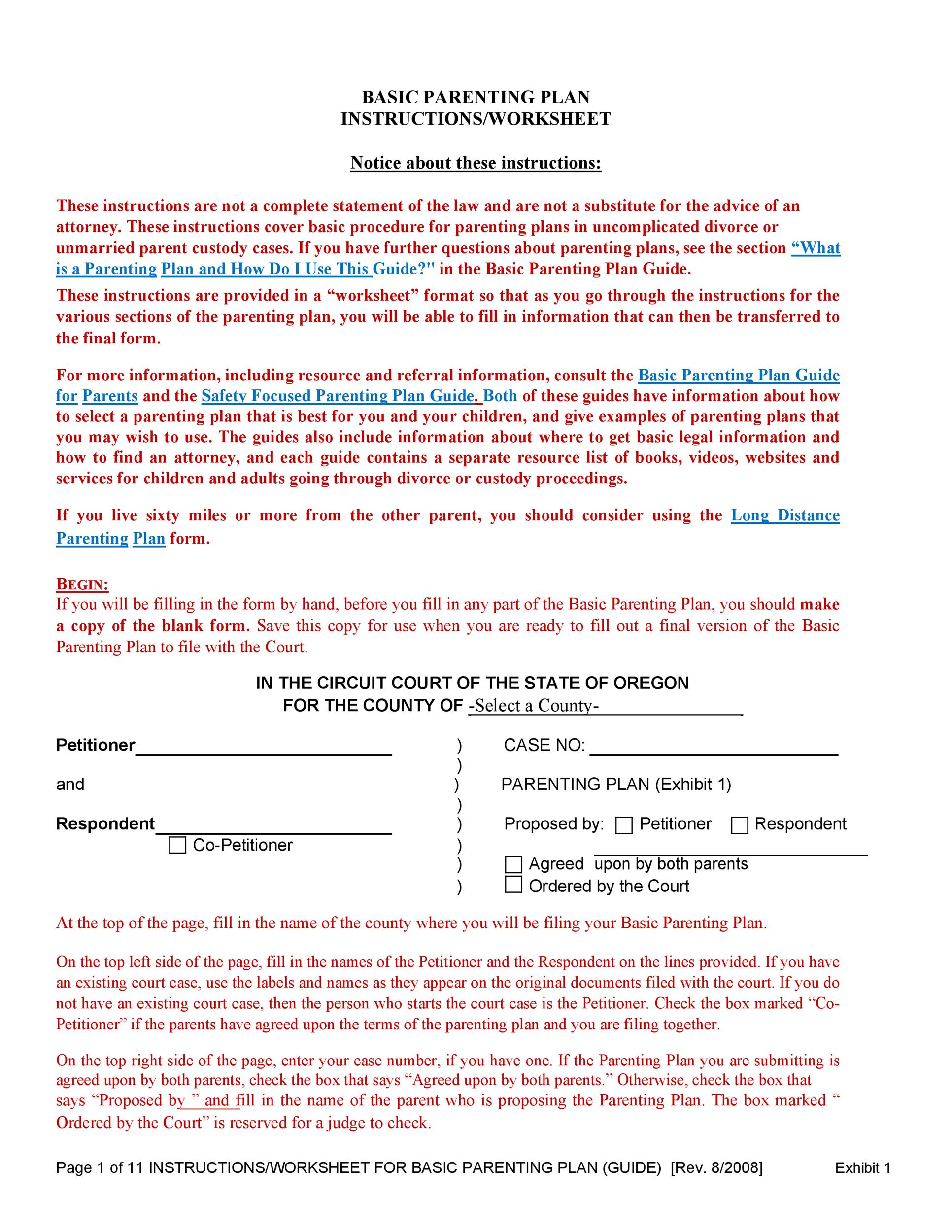 Free parenting plan template 15