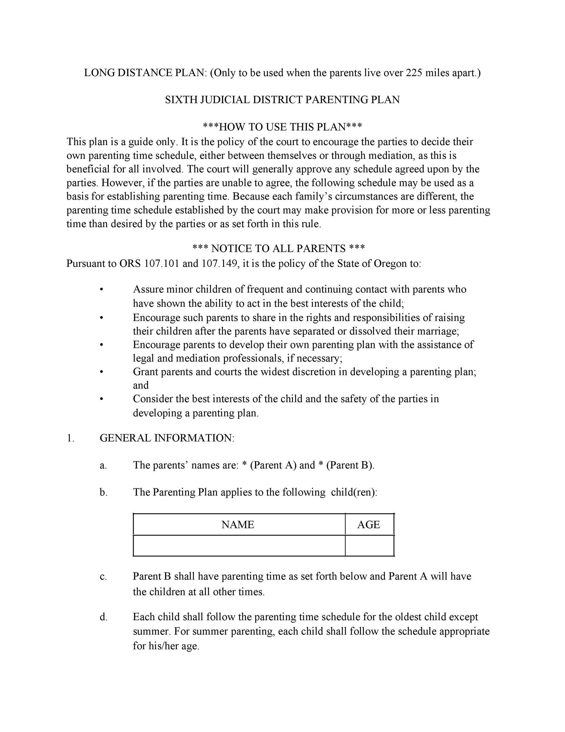 49 FREE Parenting Plan & Custody Agreement Templates ᐅ ...