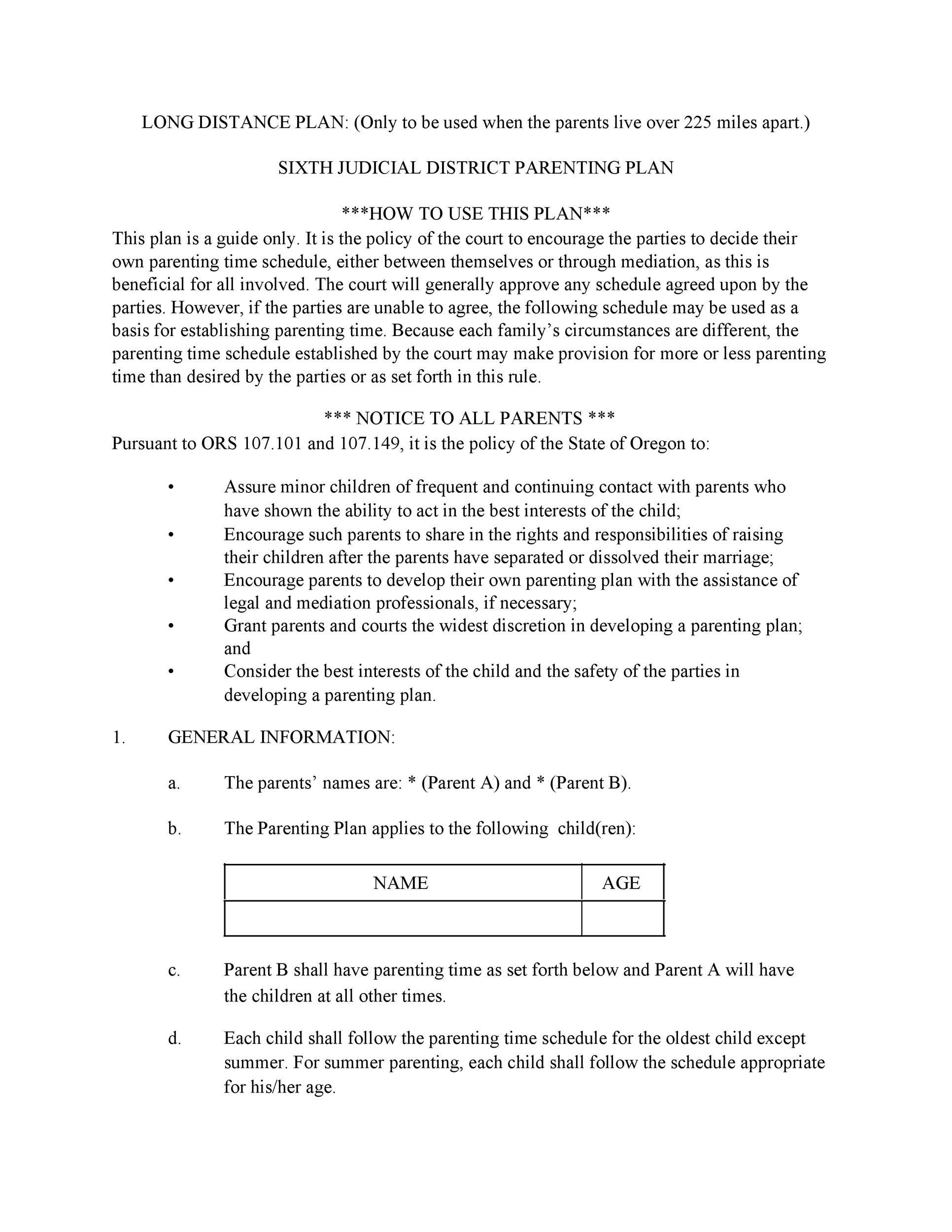 Free parenting plan template 19