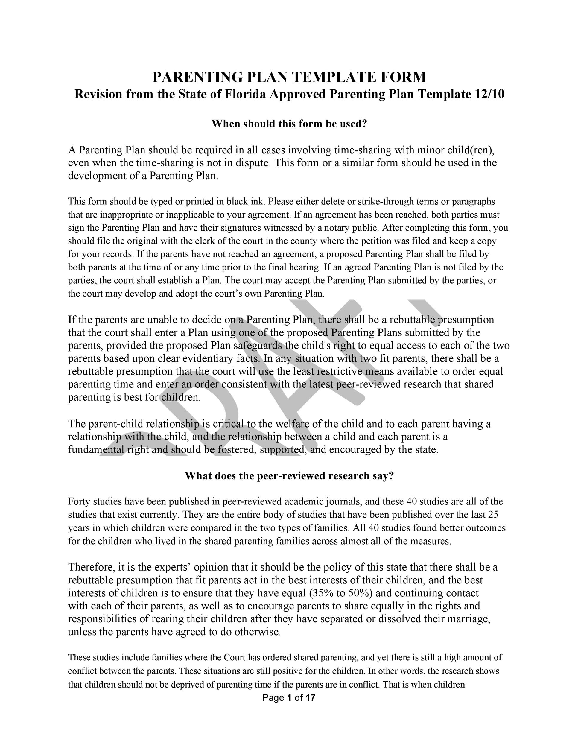 Free parenting plan template 30