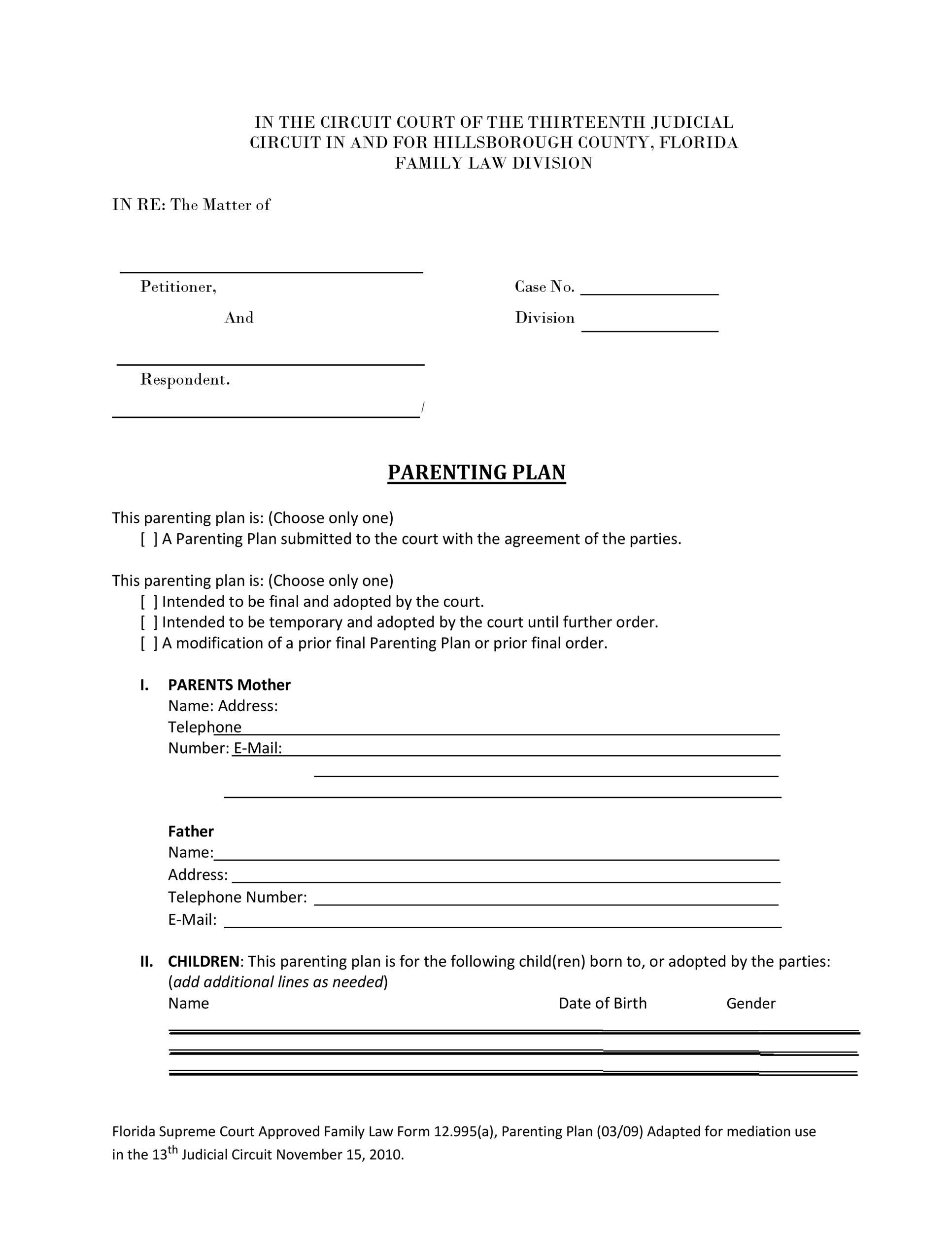 Free parenting plan template 31