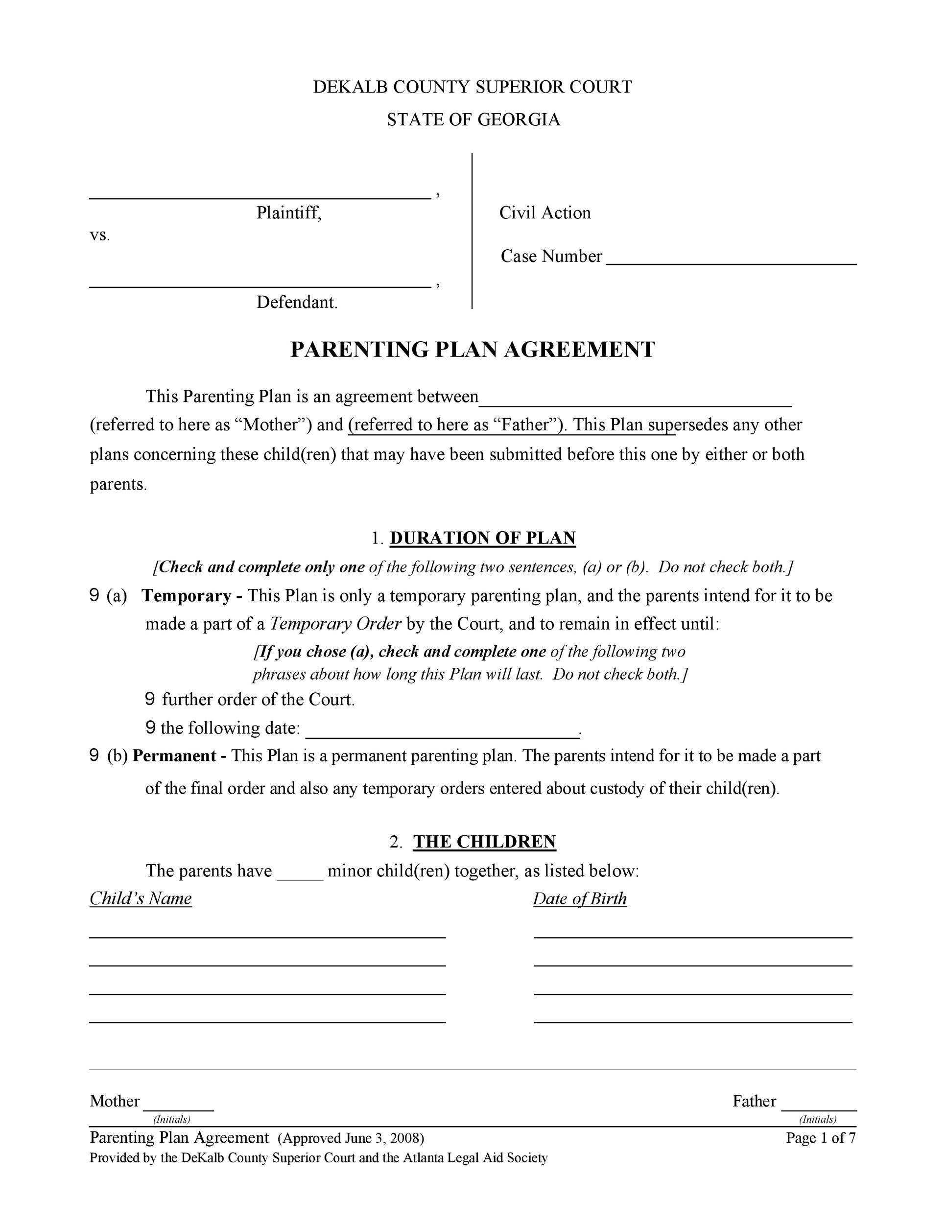 Free parenting plan template 35