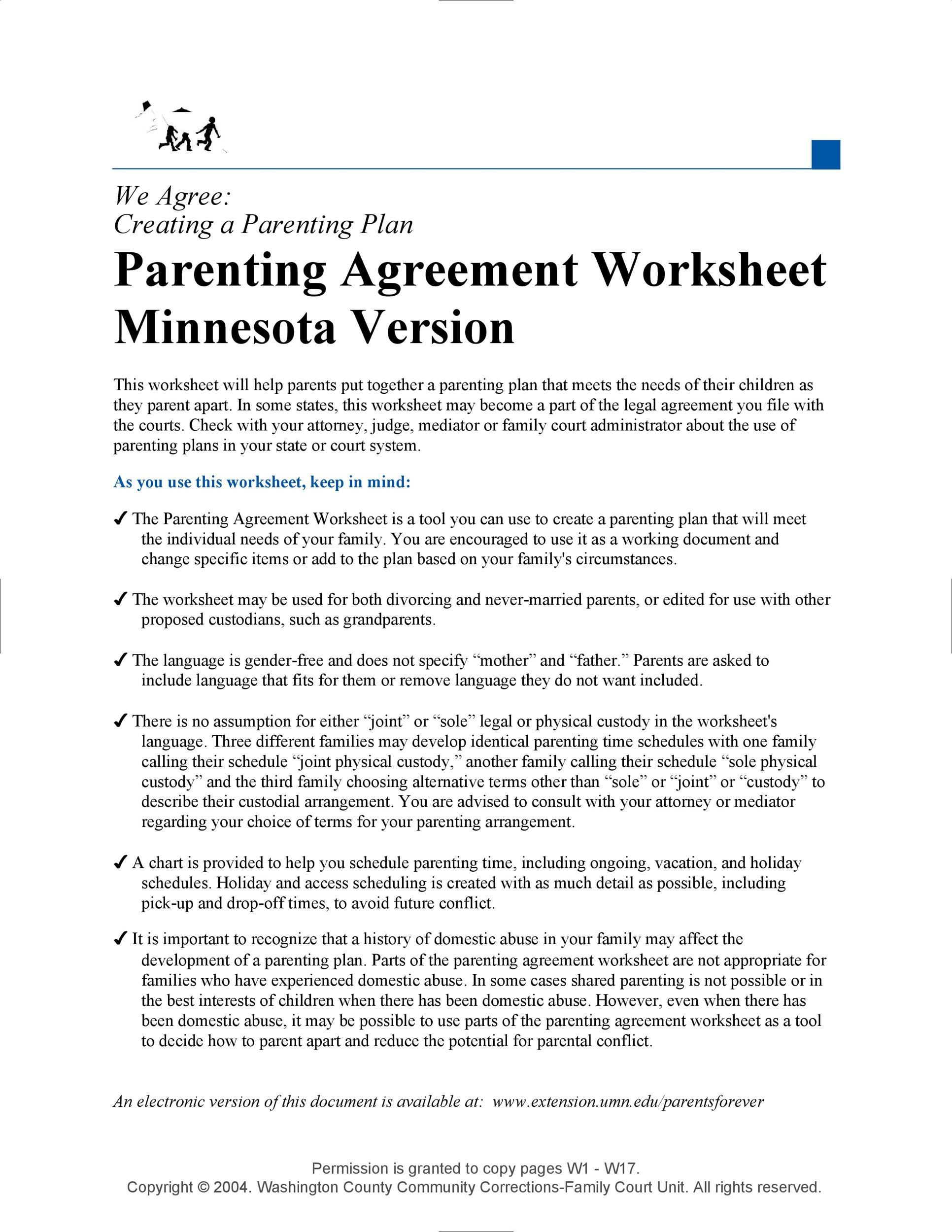 Free parenting plan template 40