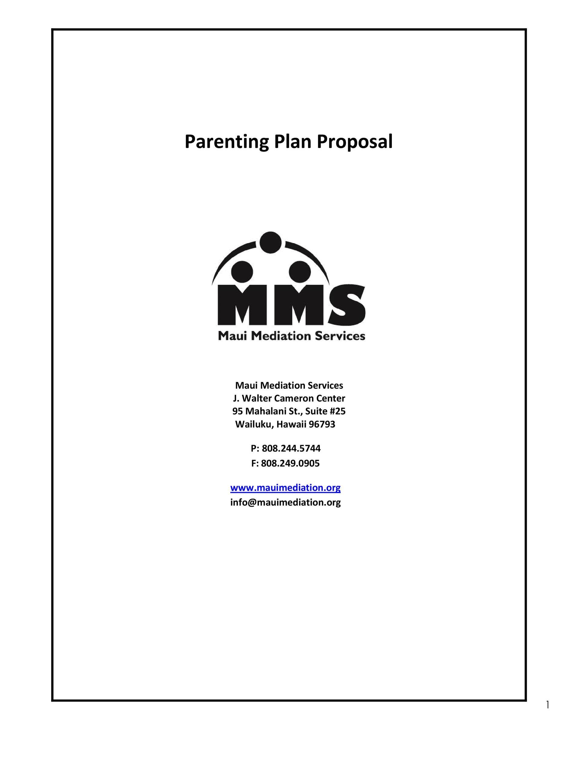 Free parenting plan template 43