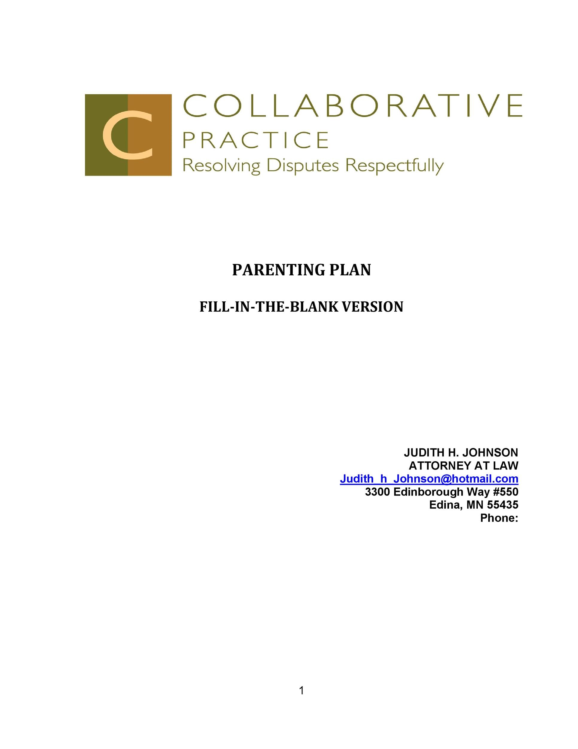 Free parenting plan template 45